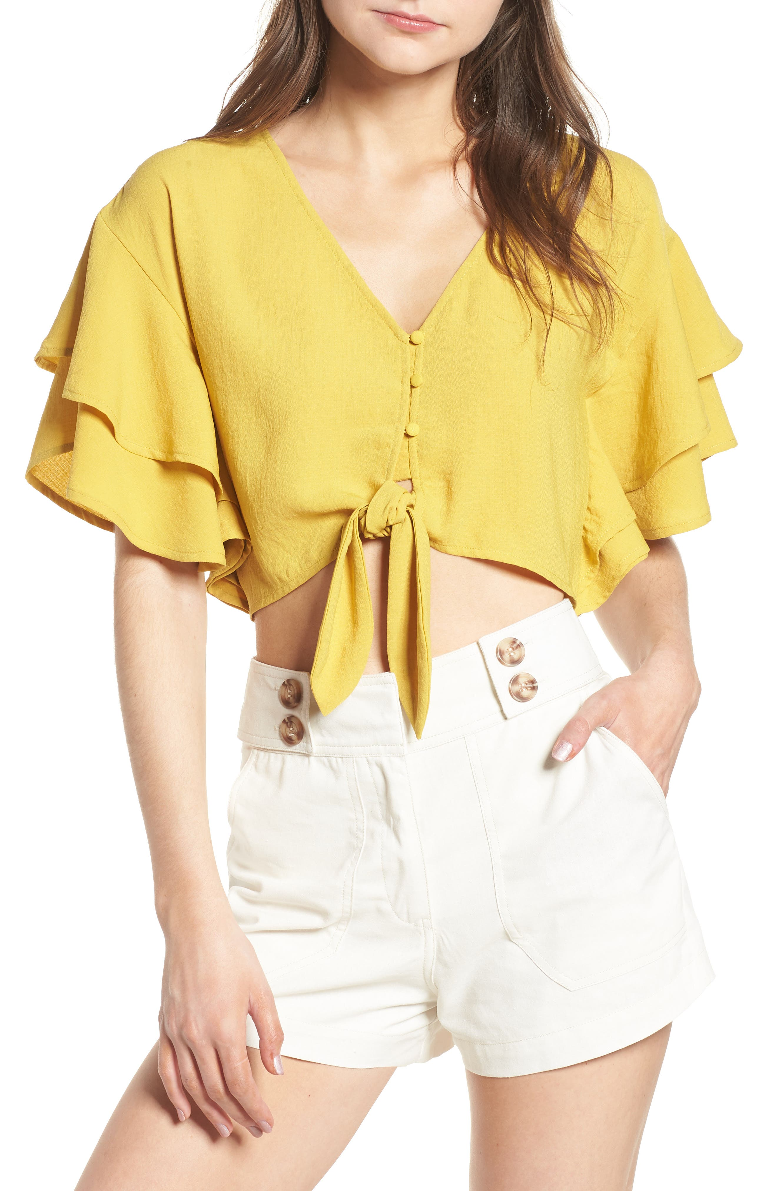 Ruffle Sleeve Crop Top,                         Main,                         color, Marigold