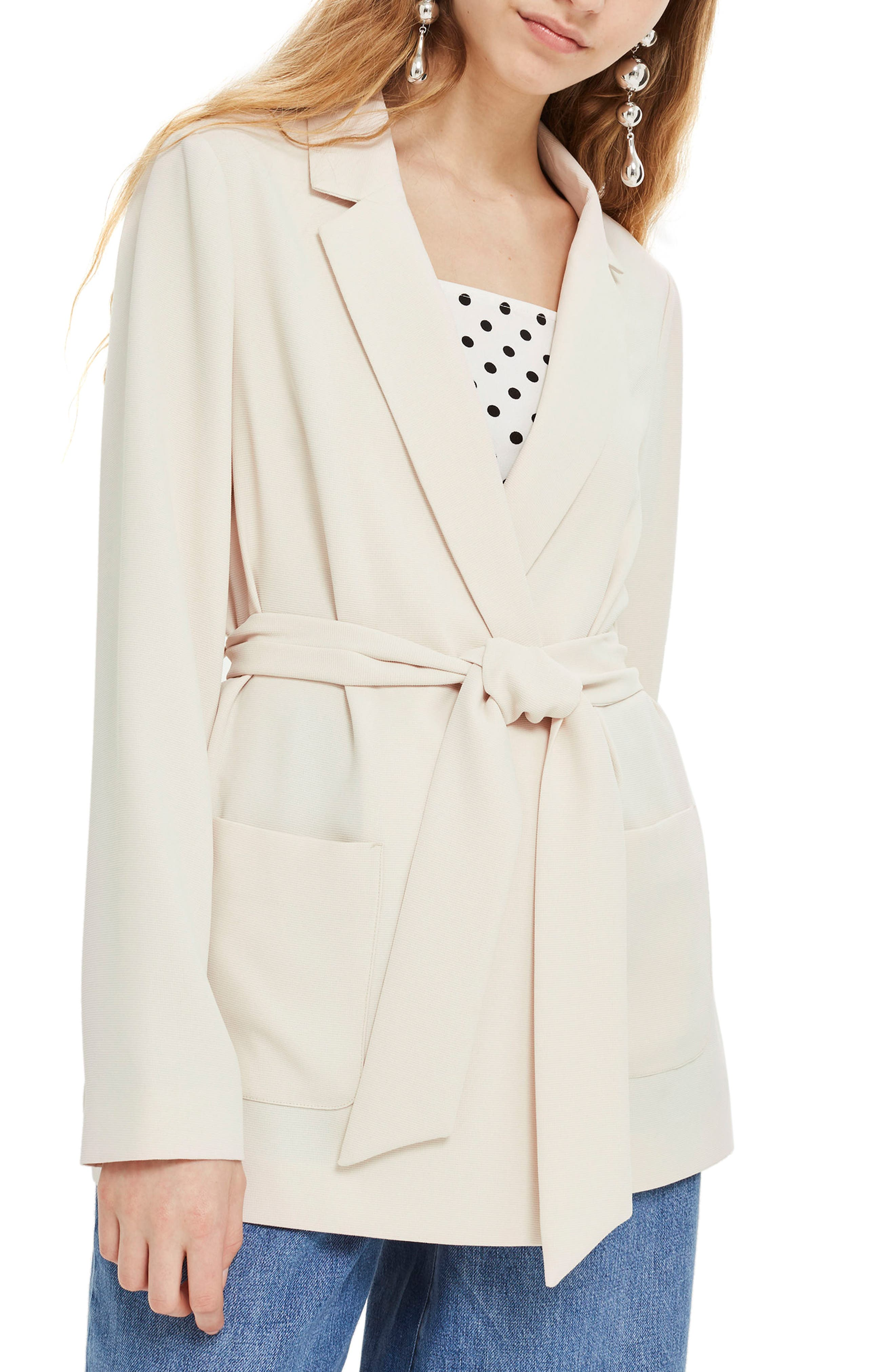 Chuck On Belted Jacket,                             Main thumbnail 1, color,                             Nude