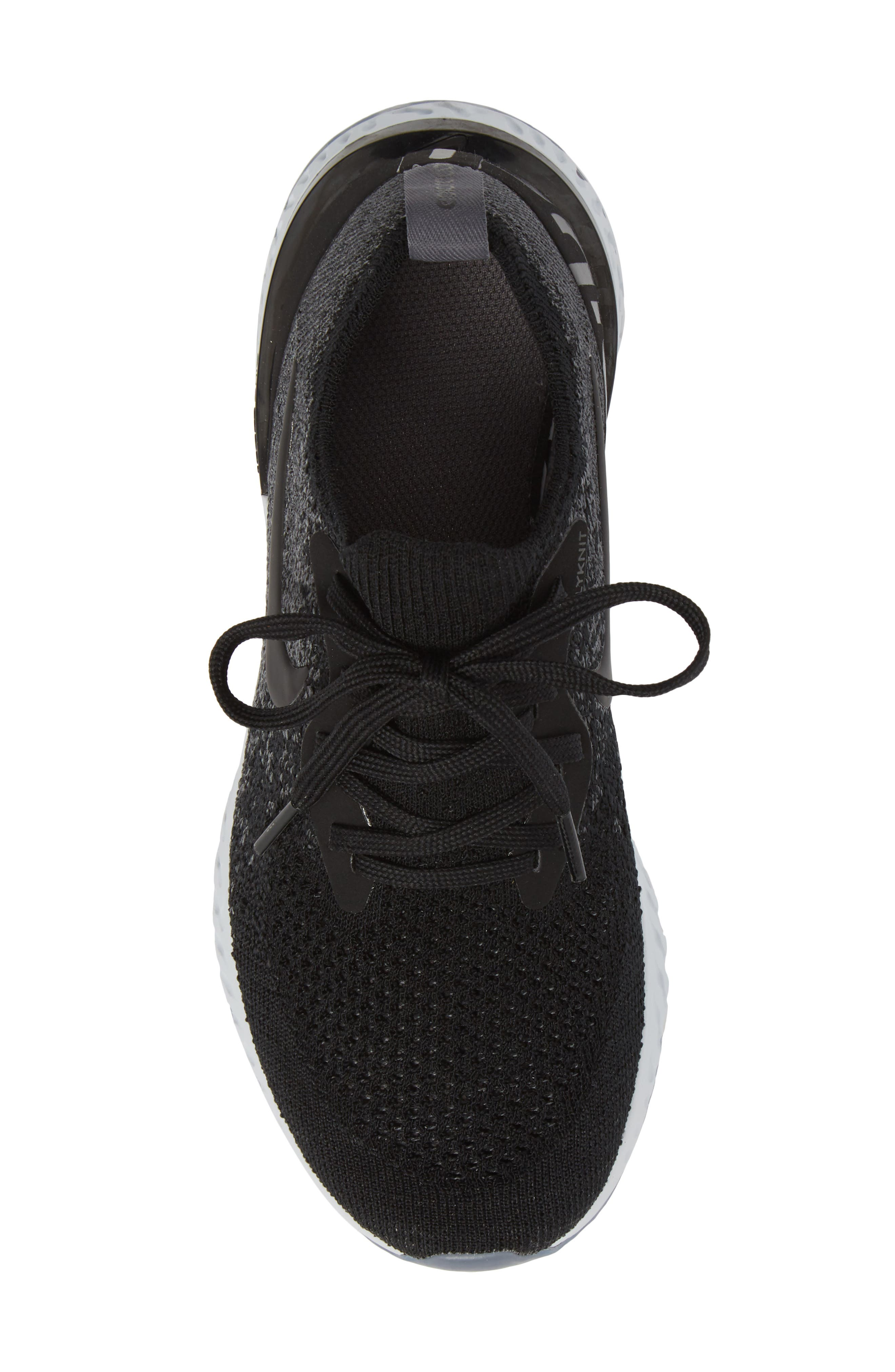 Epic React Flyknit Running Shoe,                             Alternate thumbnail 5, color,                             Black/ Grey/ Pure Platinum