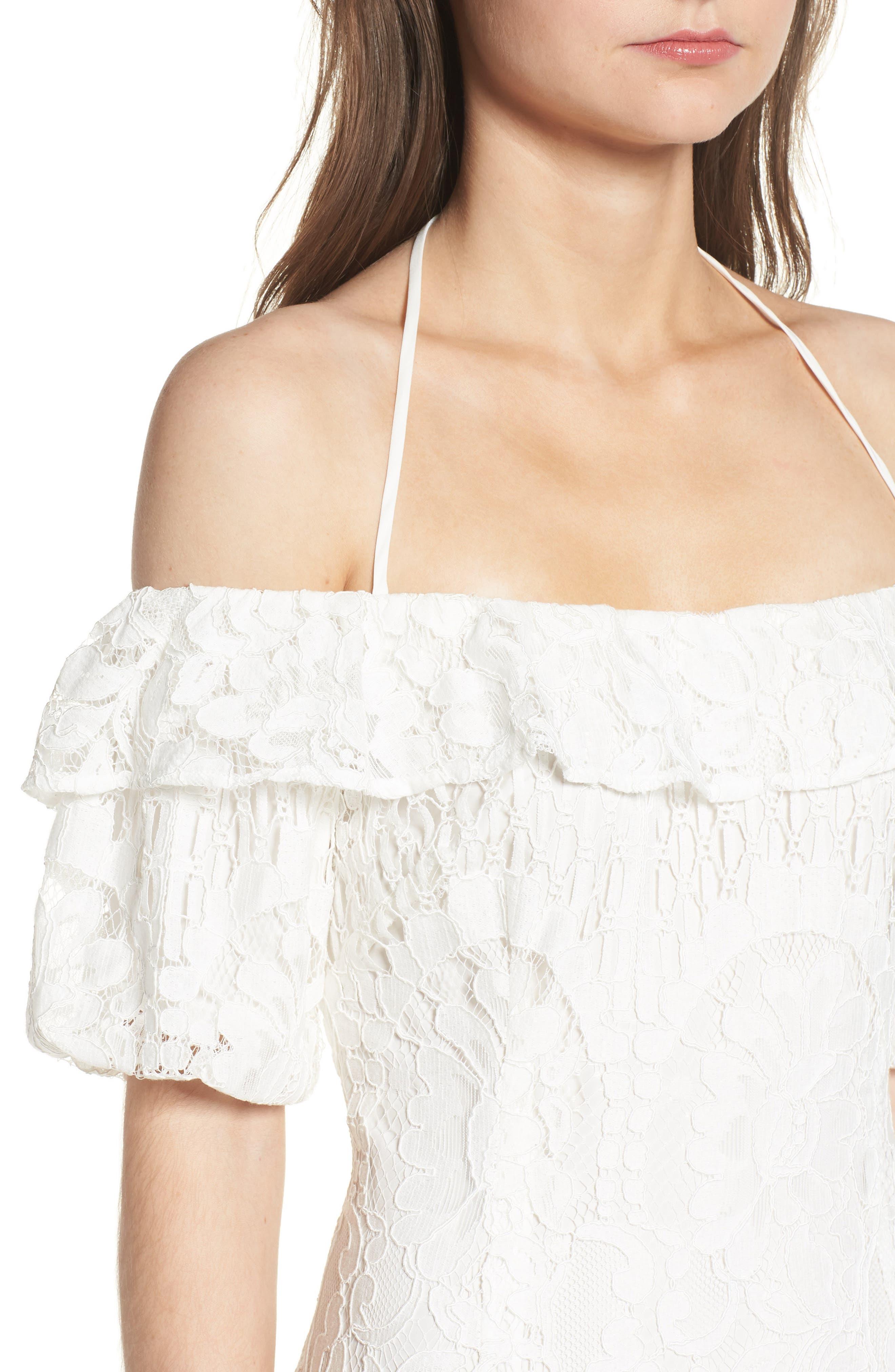 Tasha Off the Shoulder Halter Maxi Dress,                             Alternate thumbnail 4, color,                             Ivory