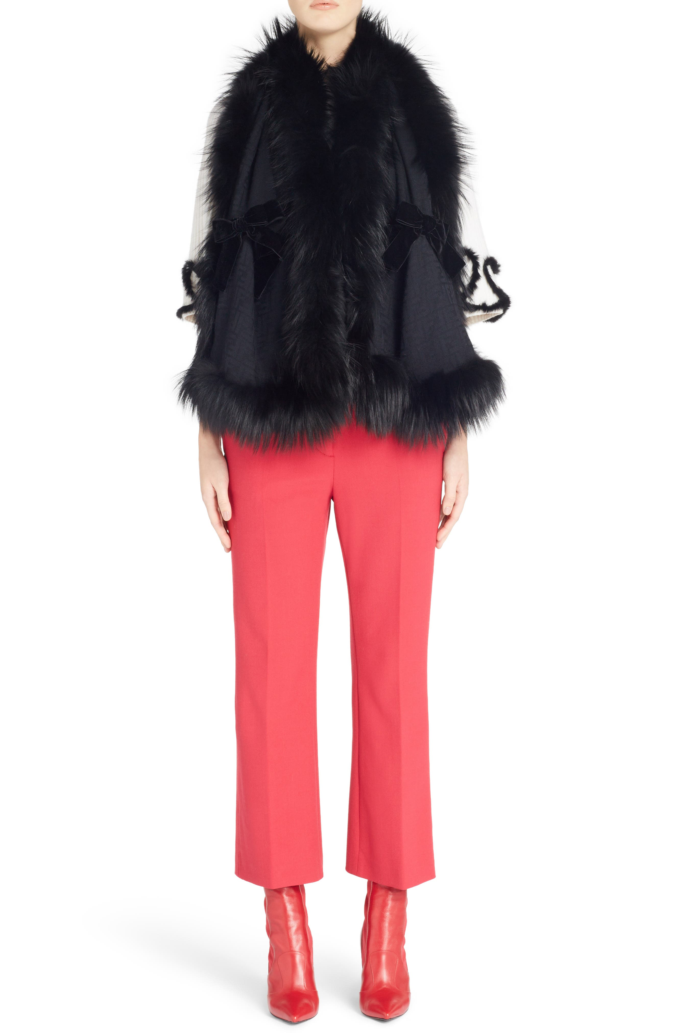 Stretch Drill Crop Flare Pants,                             Alternate thumbnail 8, color,                             Red