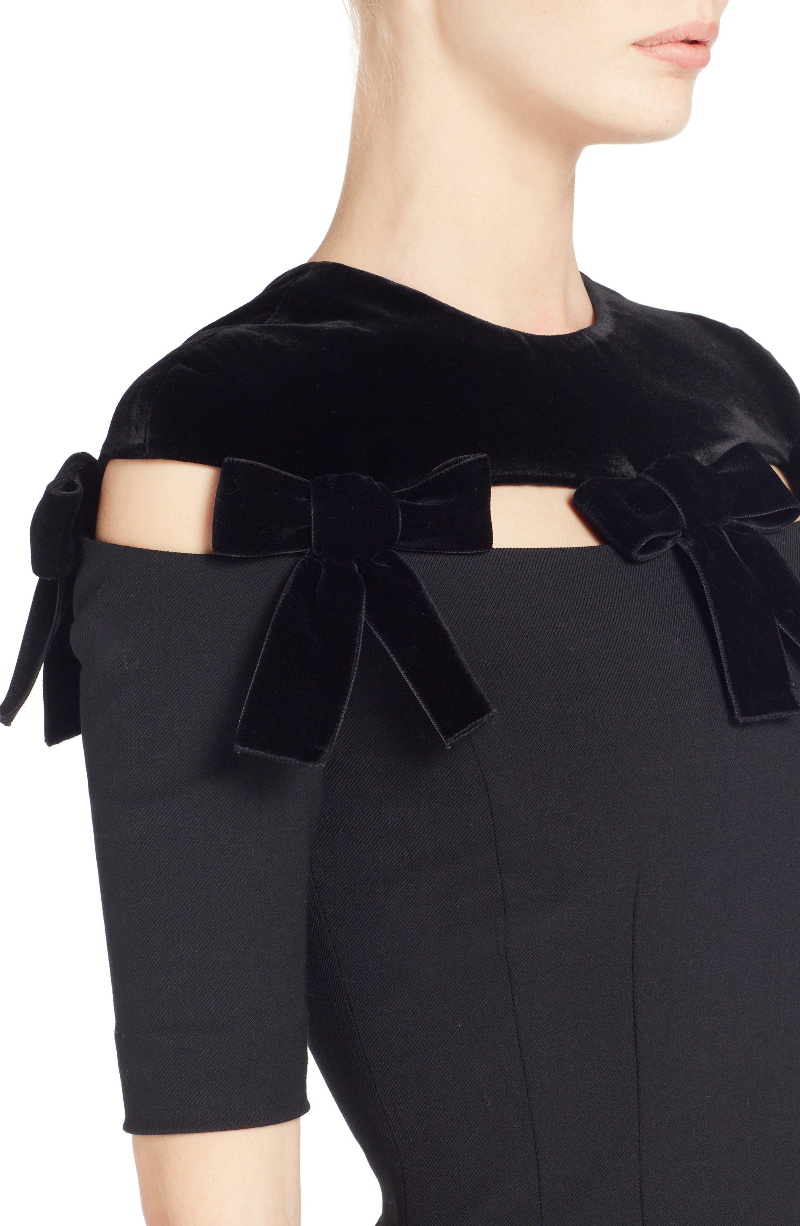 Velvet Bow Detail Stretch Dress,                             Alternate thumbnail 4, color,                             Black