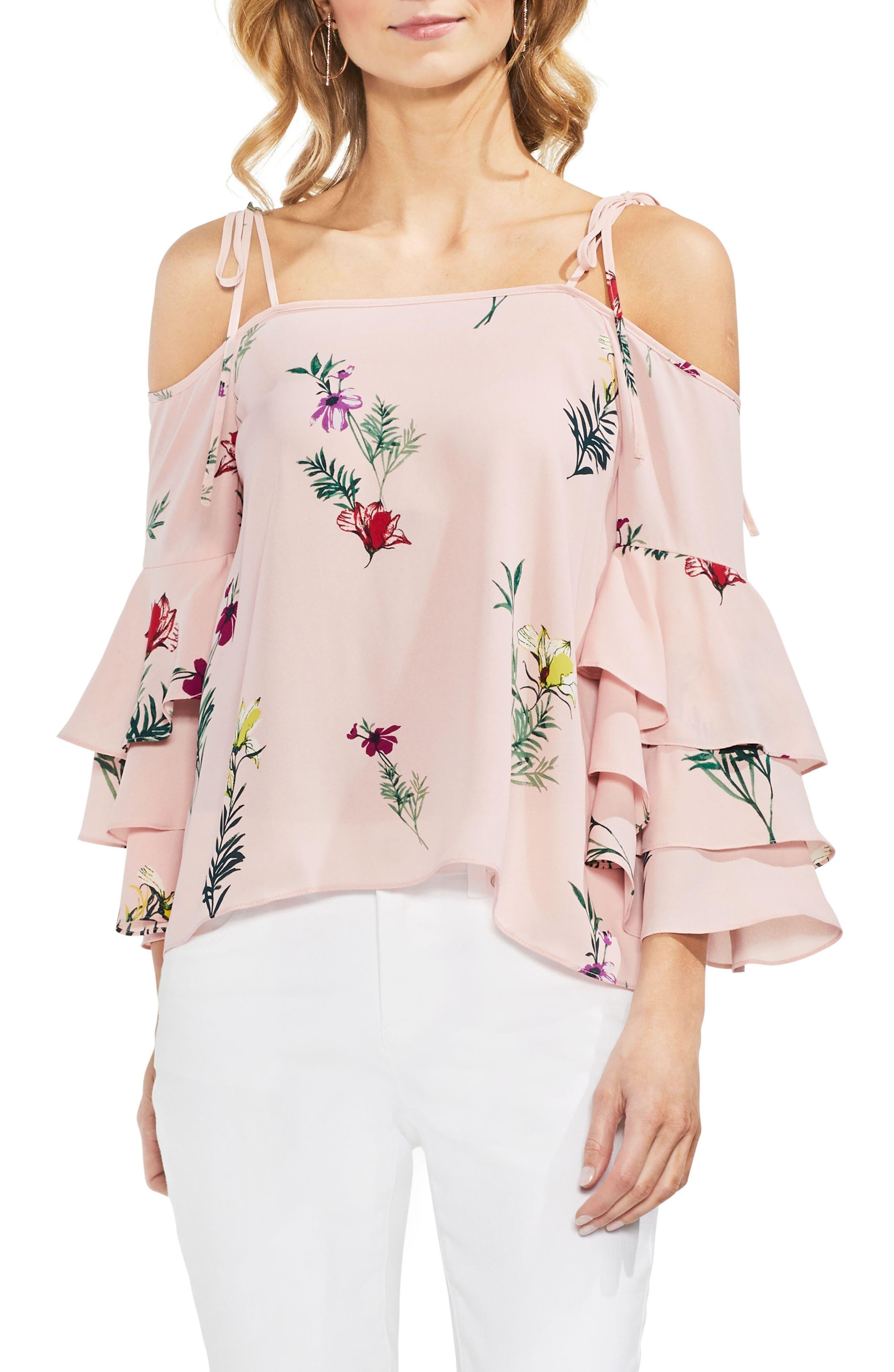 Tropical Garden Tie Shoulder Top,                         Main,                         color, Eden Pink