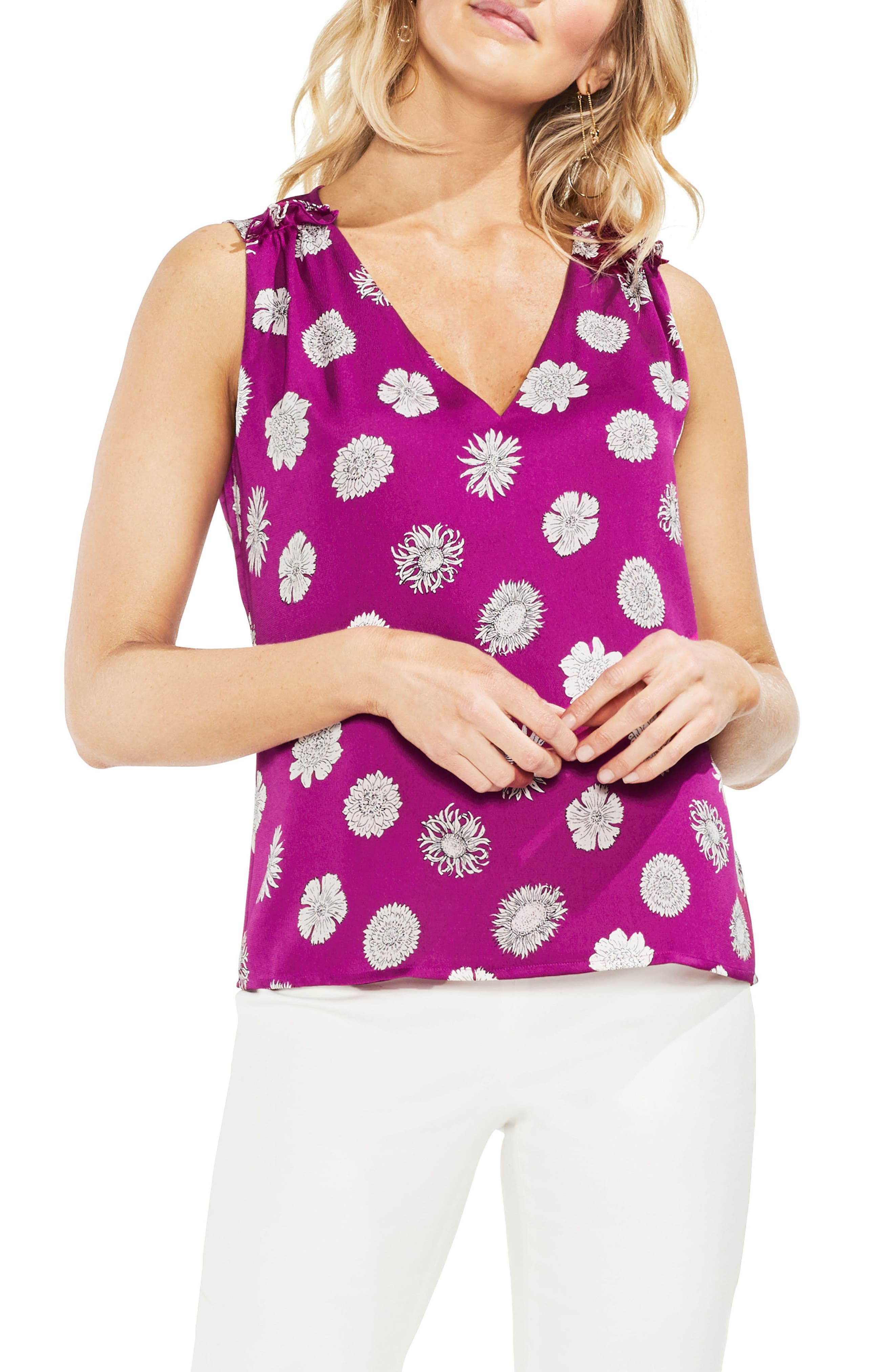 Vince Camuto Botanical Tropics Satin Top