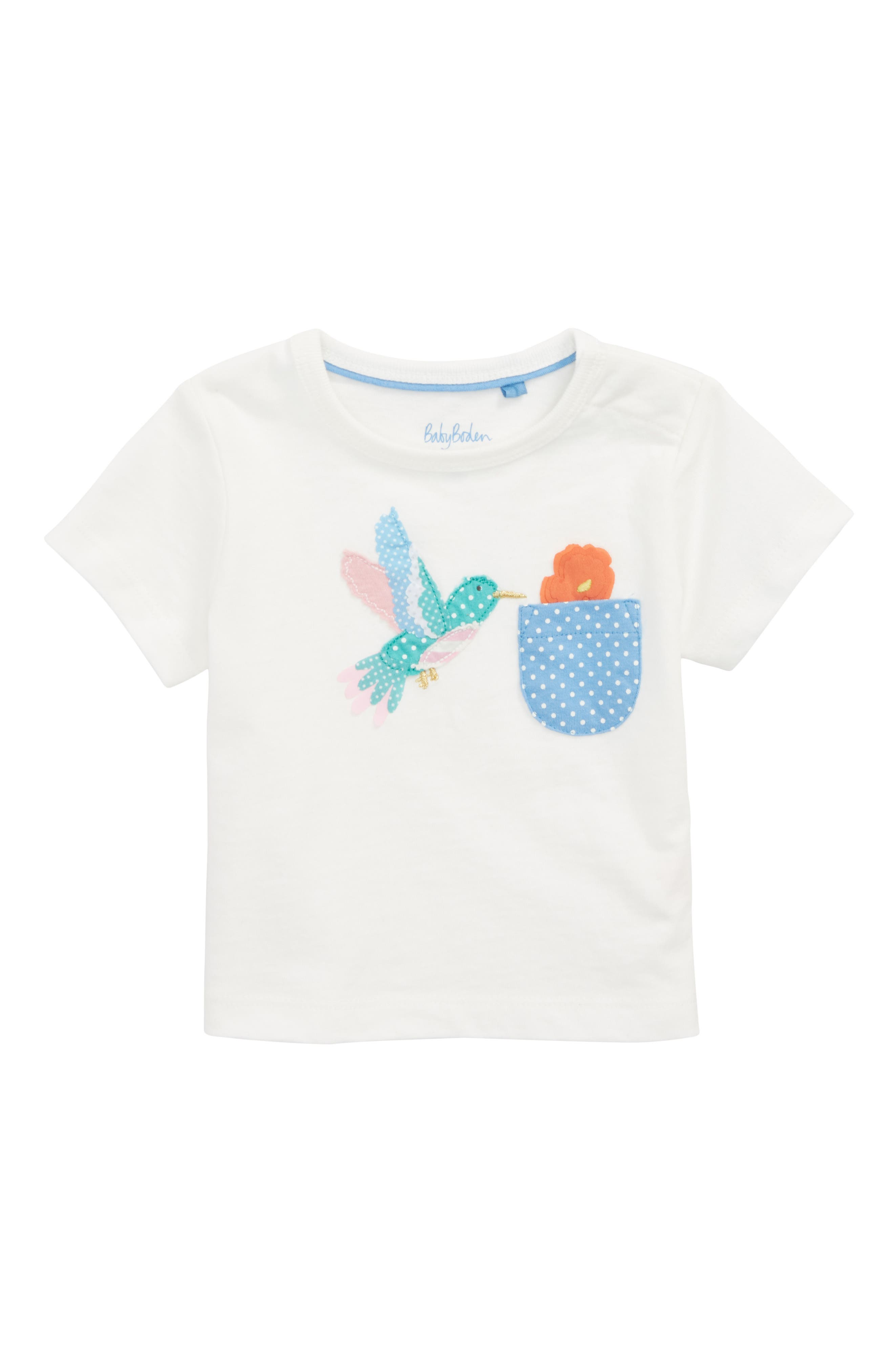 Mini Boden Appliqué Pocket Tee (Baby Girls)