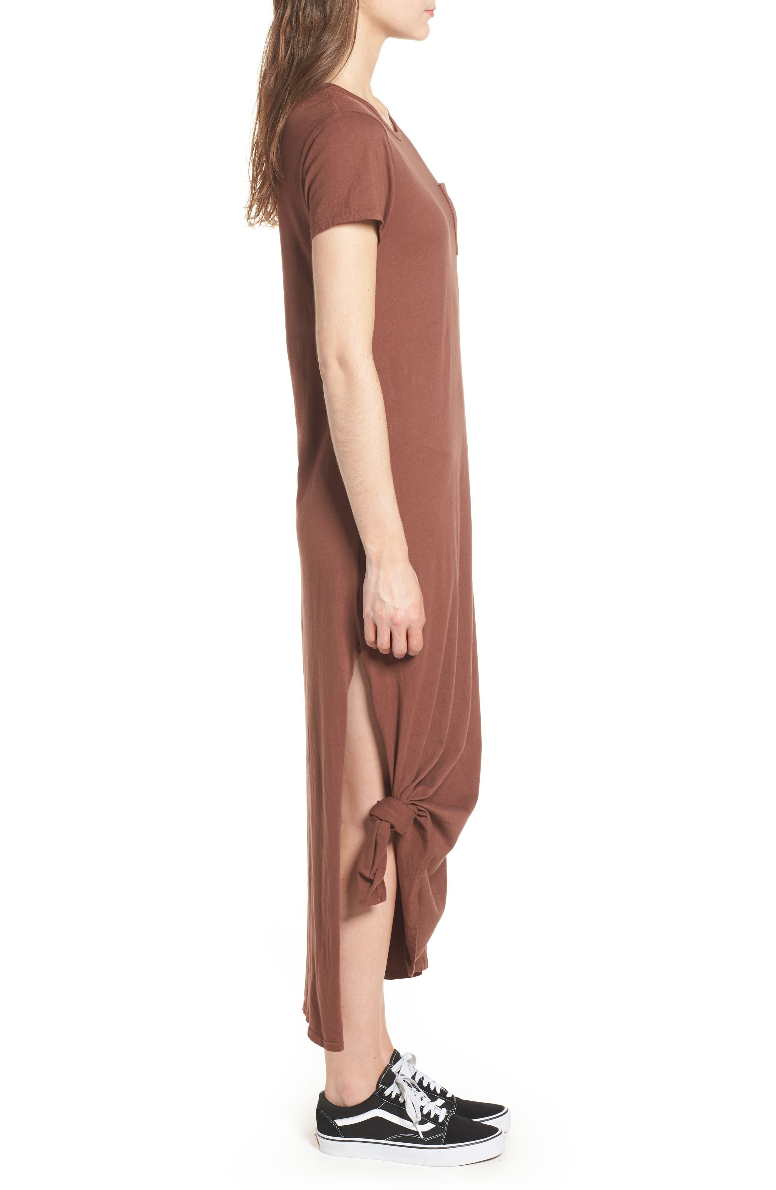 Alana Side Slit T-Shirt Dress,                             Alternate thumbnail 3, color,                             Nutmeg