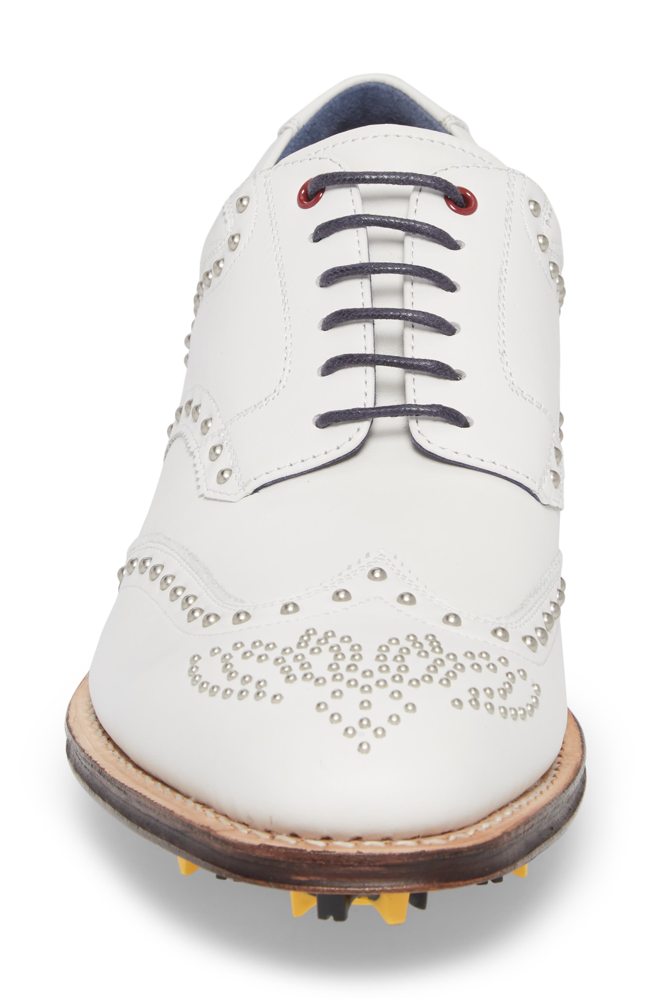 Rocker Plain Toe Oxford with Removable Cleats,                             Alternate thumbnail 4, color,                             White Leather