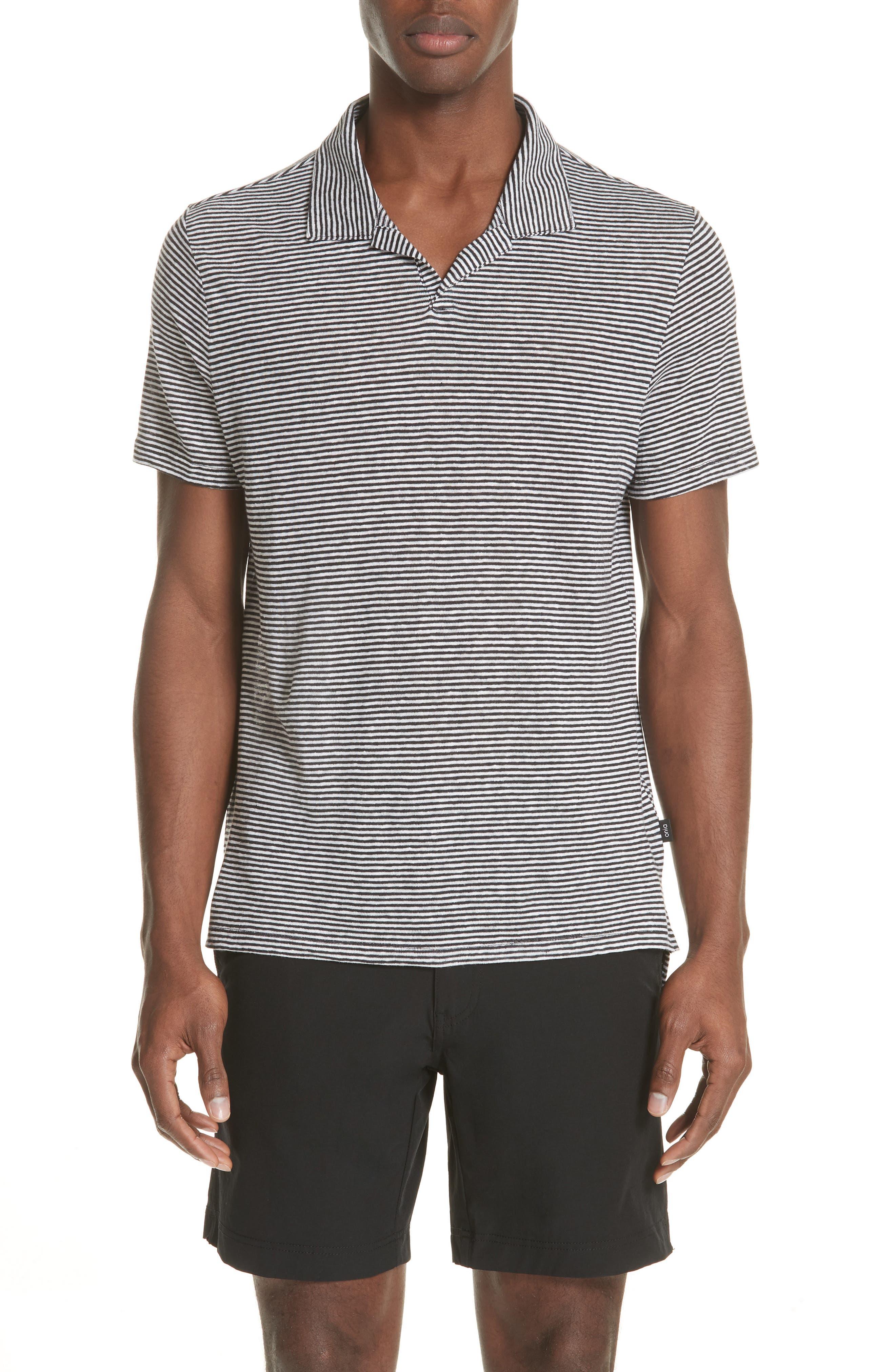 Shaun Stripe Polo,                             Main thumbnail 1, color,                             Black/ White