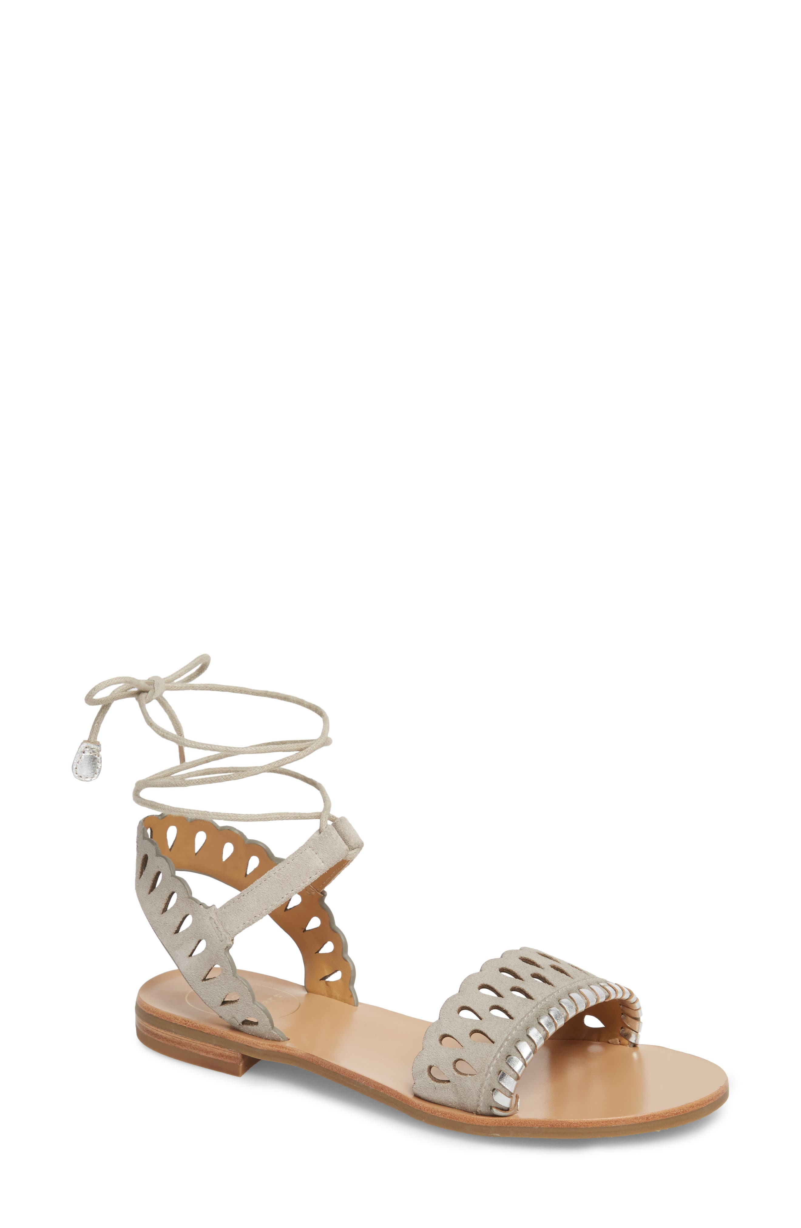 Ruby Perforated Sandal,                         Main,                         color, Dove Grey Suede