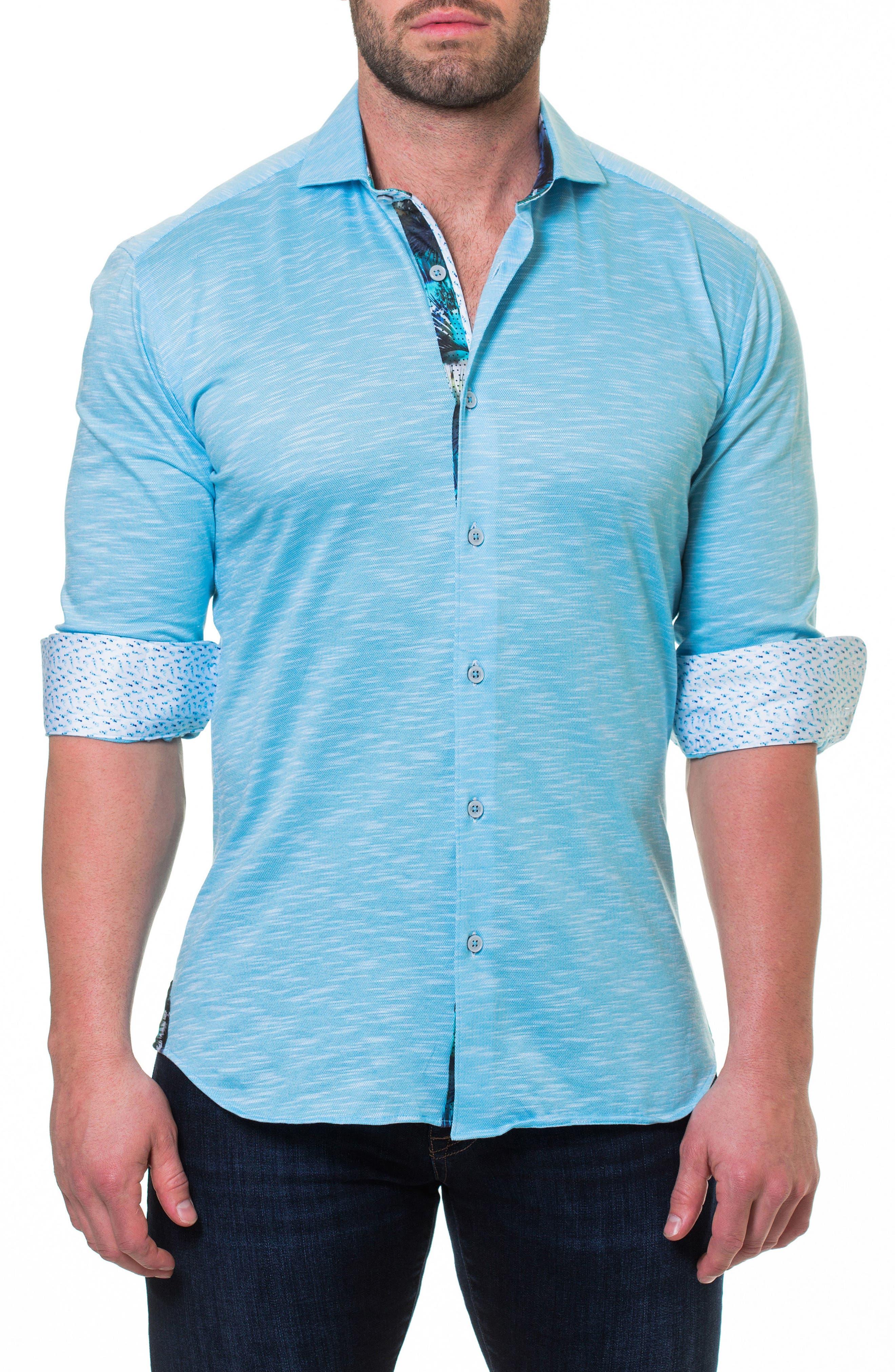 Wall Street Slim Fit Slub Piqué Sport Shirt,                         Main,                         color, Blue