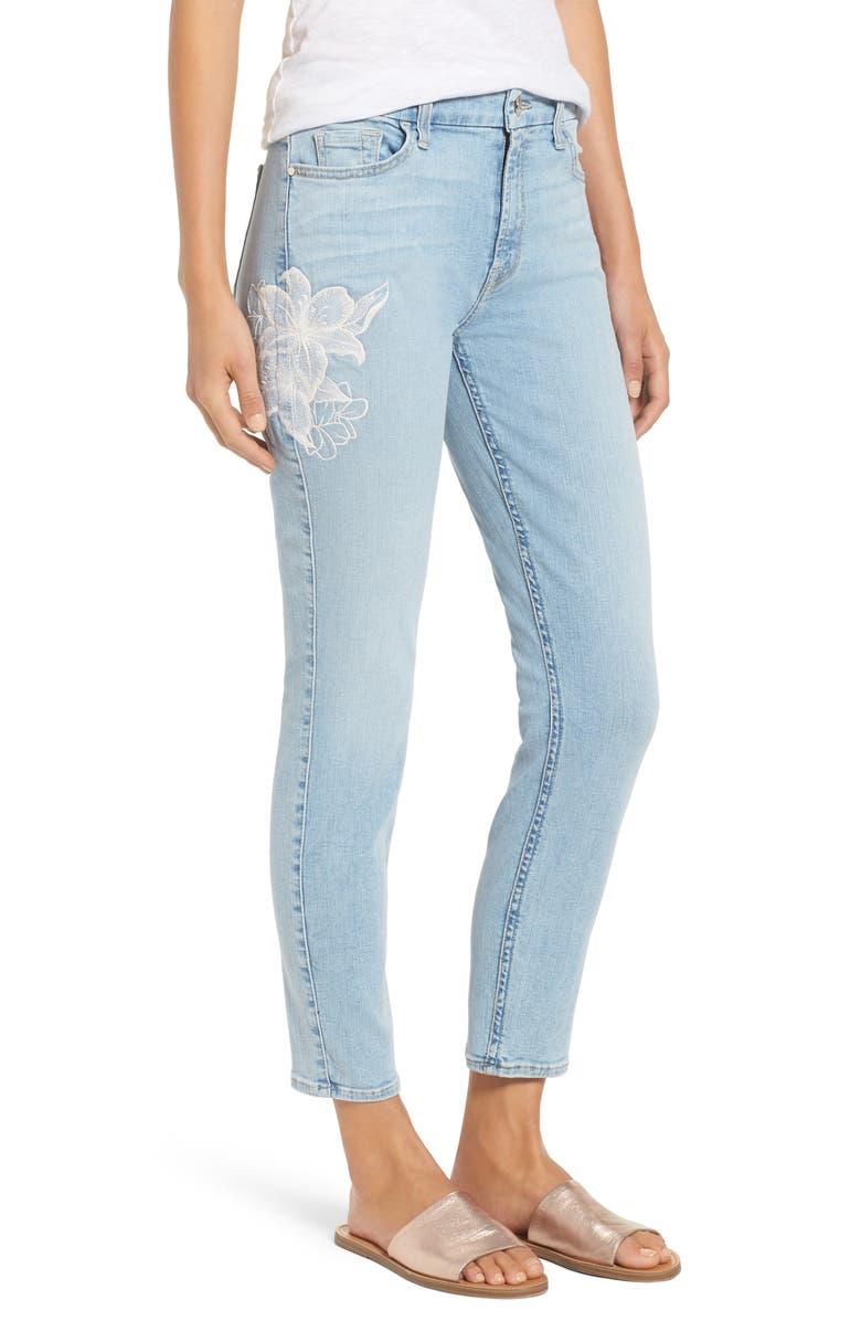 Jen 7 Embroidered Stretch Sklnny Ankle Jeans