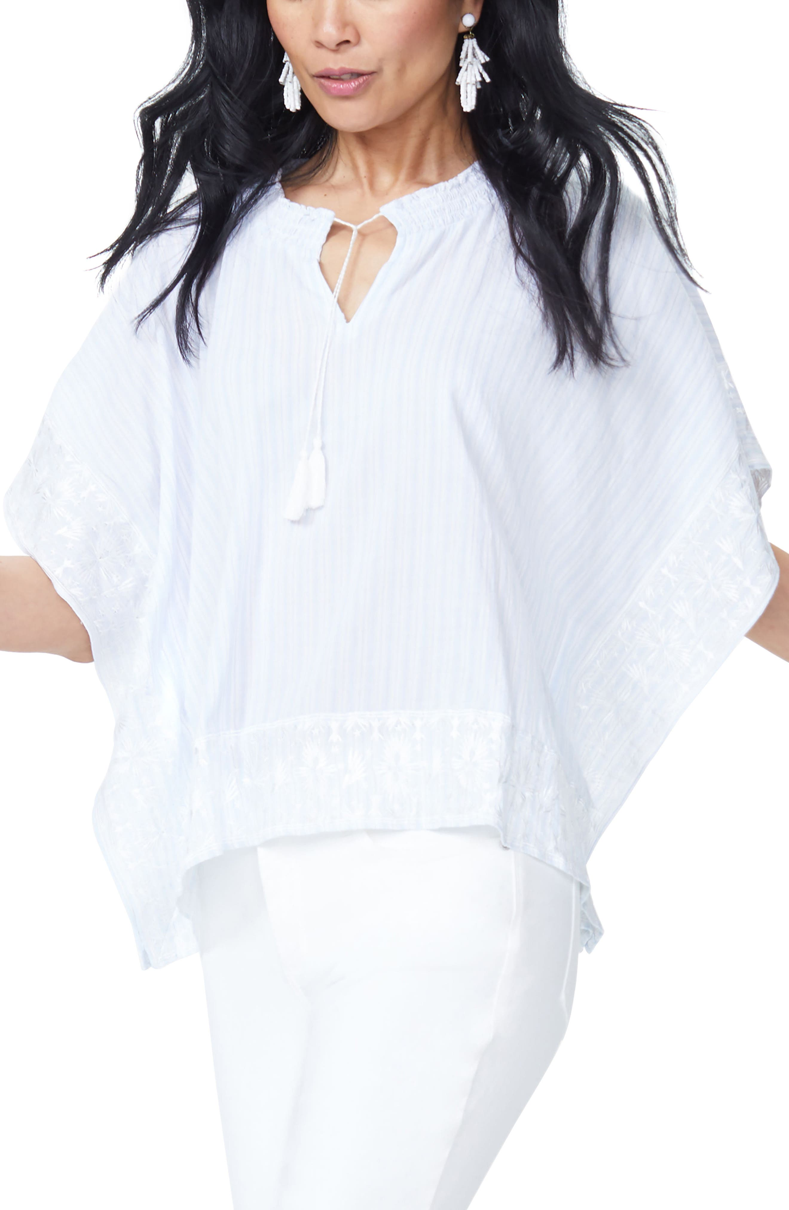 Cascade Embroidery Popover Top,                             Alternate thumbnail 4, color,                             Castaway Stripe Tranquility