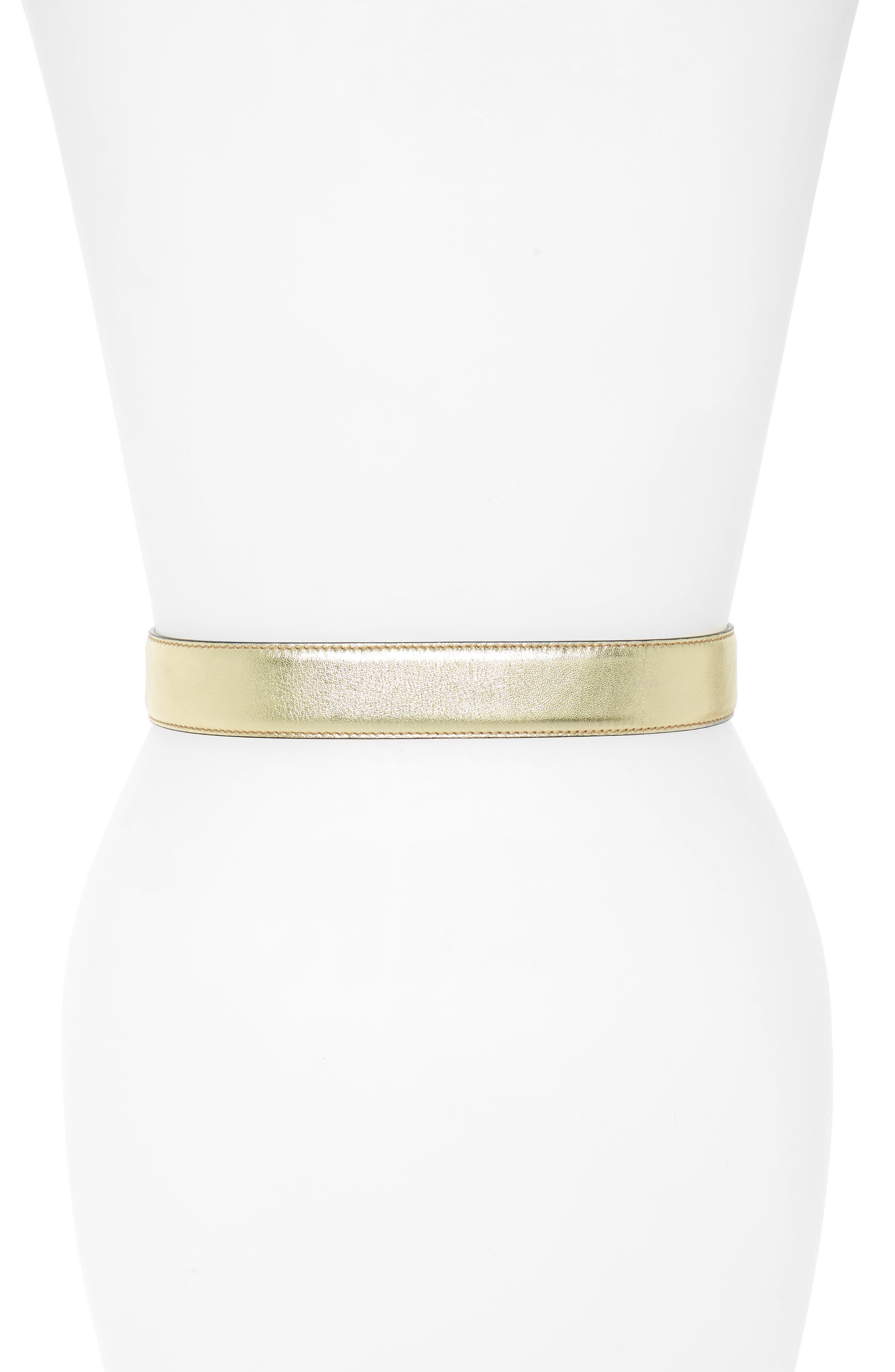 Logo Leather Belt,                             Alternate thumbnail 2, color,                             Gold W/ Gold