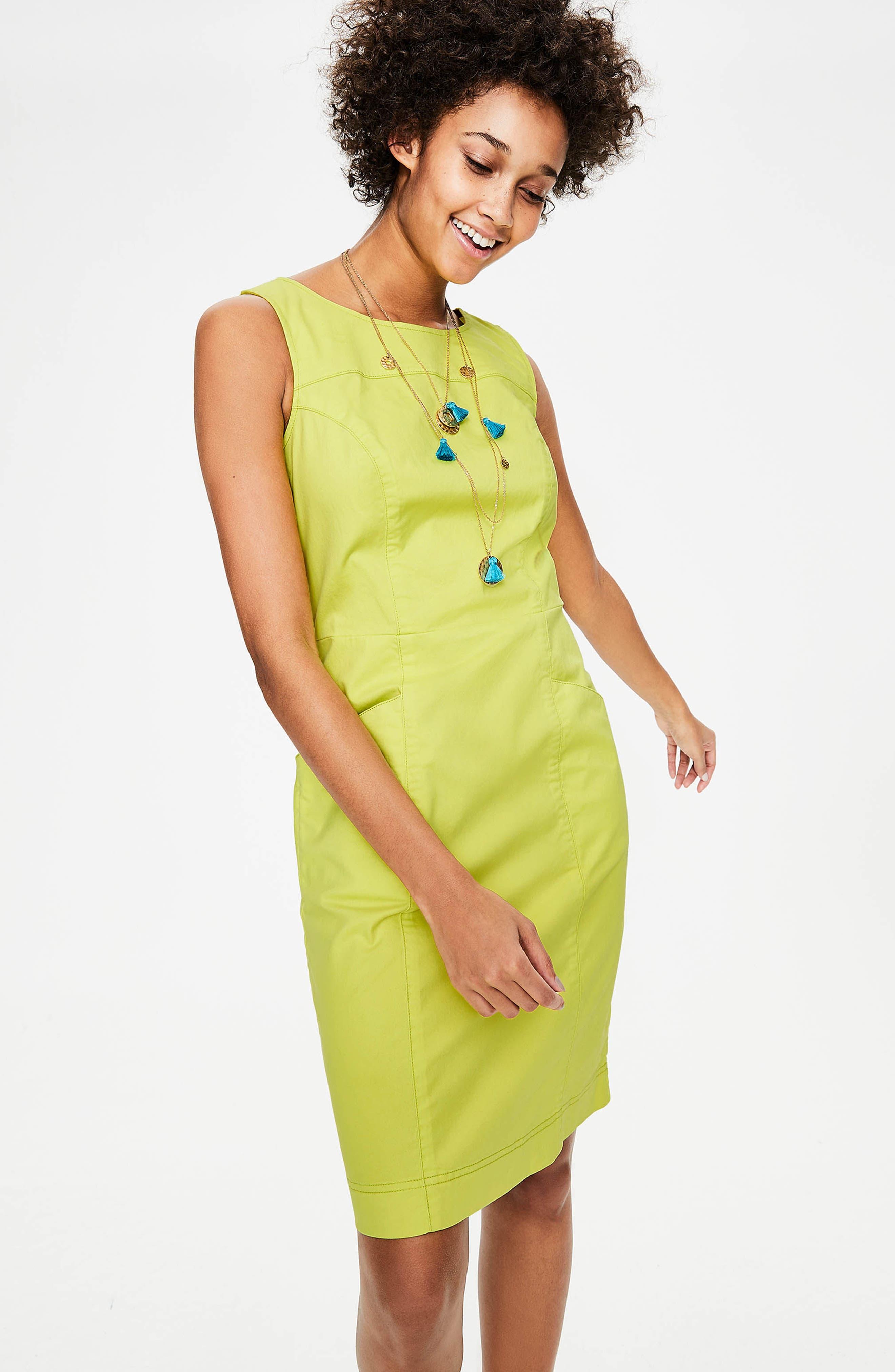 Tamara Stretch Cotton Sleeveless Dress,                             Alternate thumbnail 5, color,                             Citrus