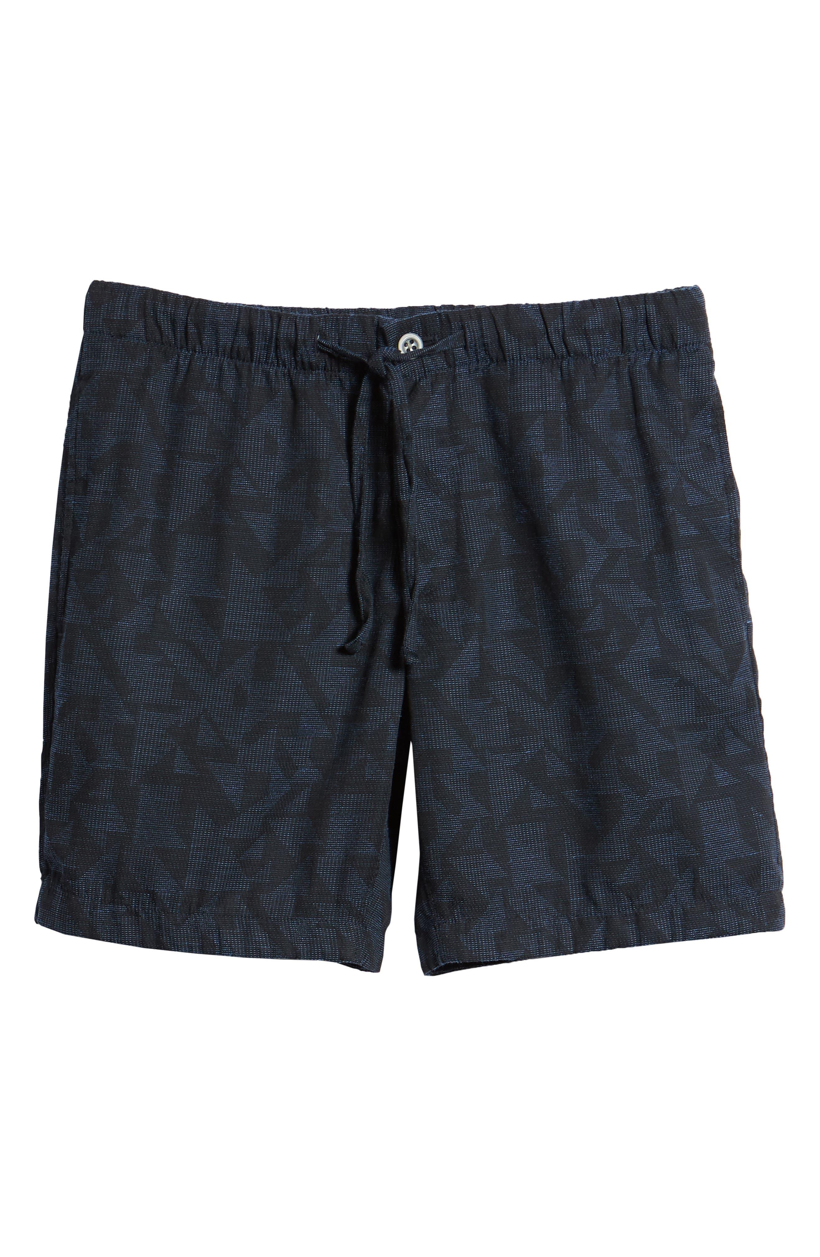 Print Beach Shorts,                             Alternate thumbnail 6, color,                             Navy Triangle Jacquard
