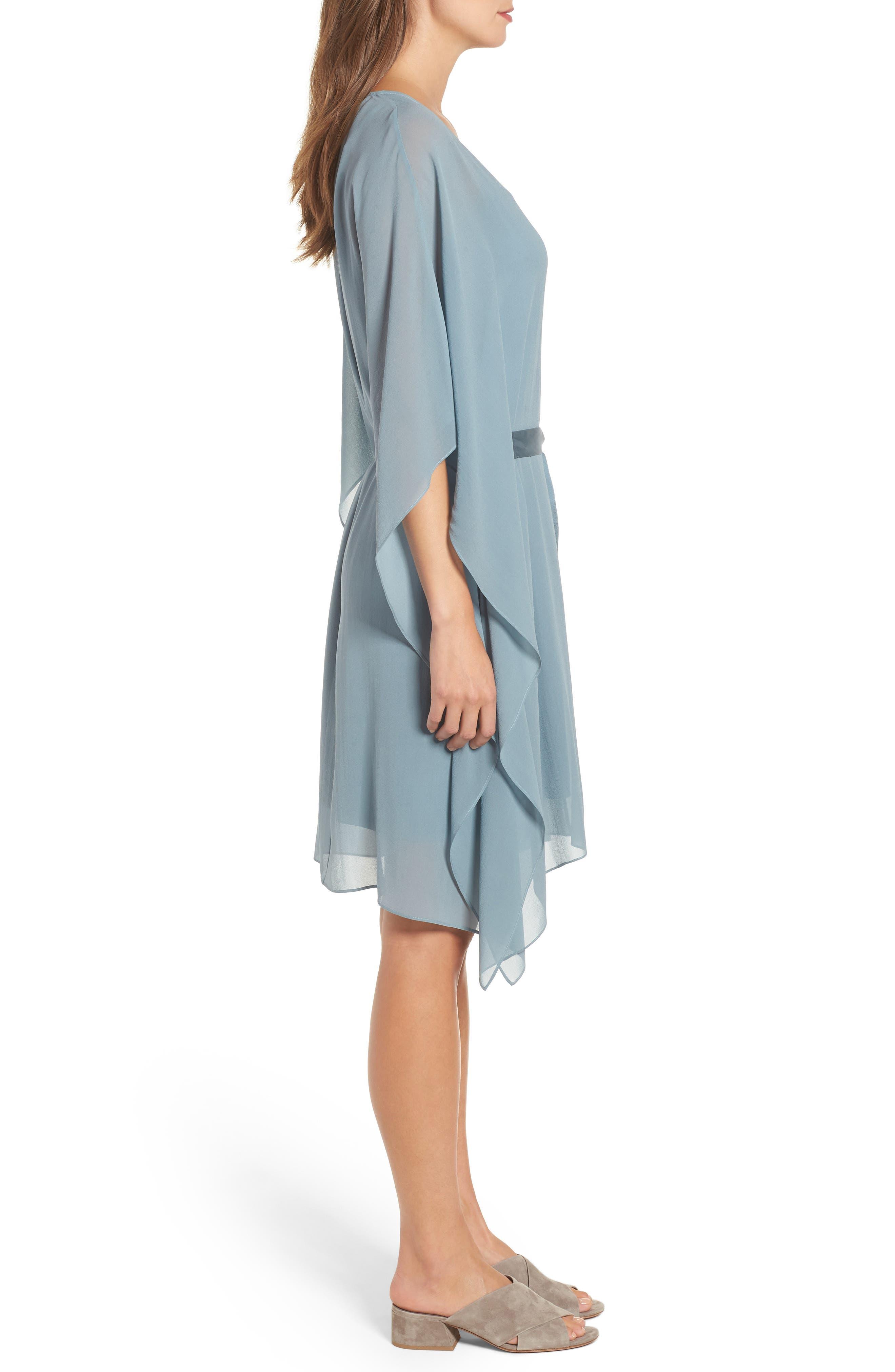 Belted Caftan Dress,                             Alternate thumbnail 3, color,                             Blue Steel