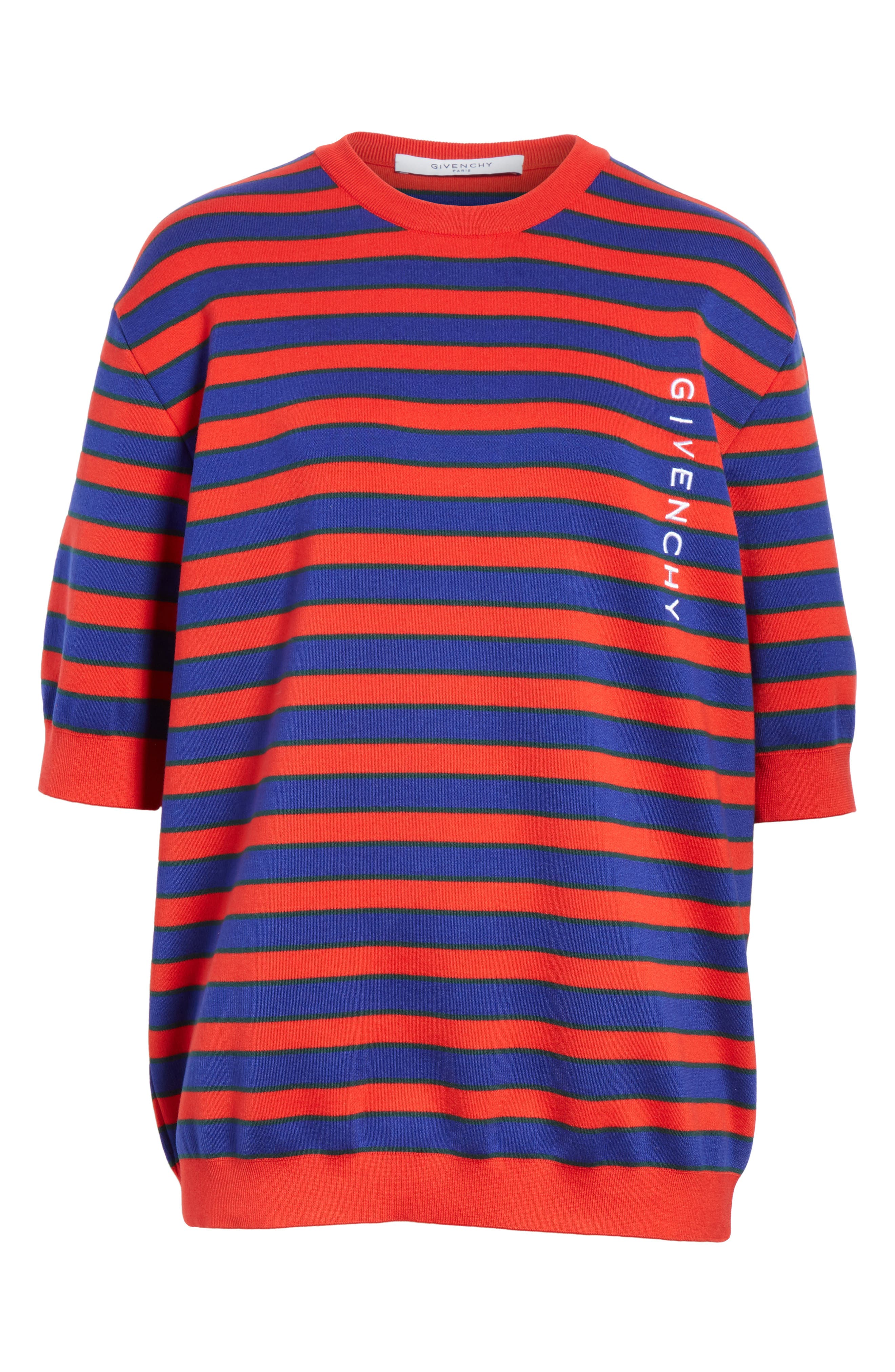 Short Sleeve Stripe Sweater,                             Alternate thumbnail 6, color,                             Red/ Blue
