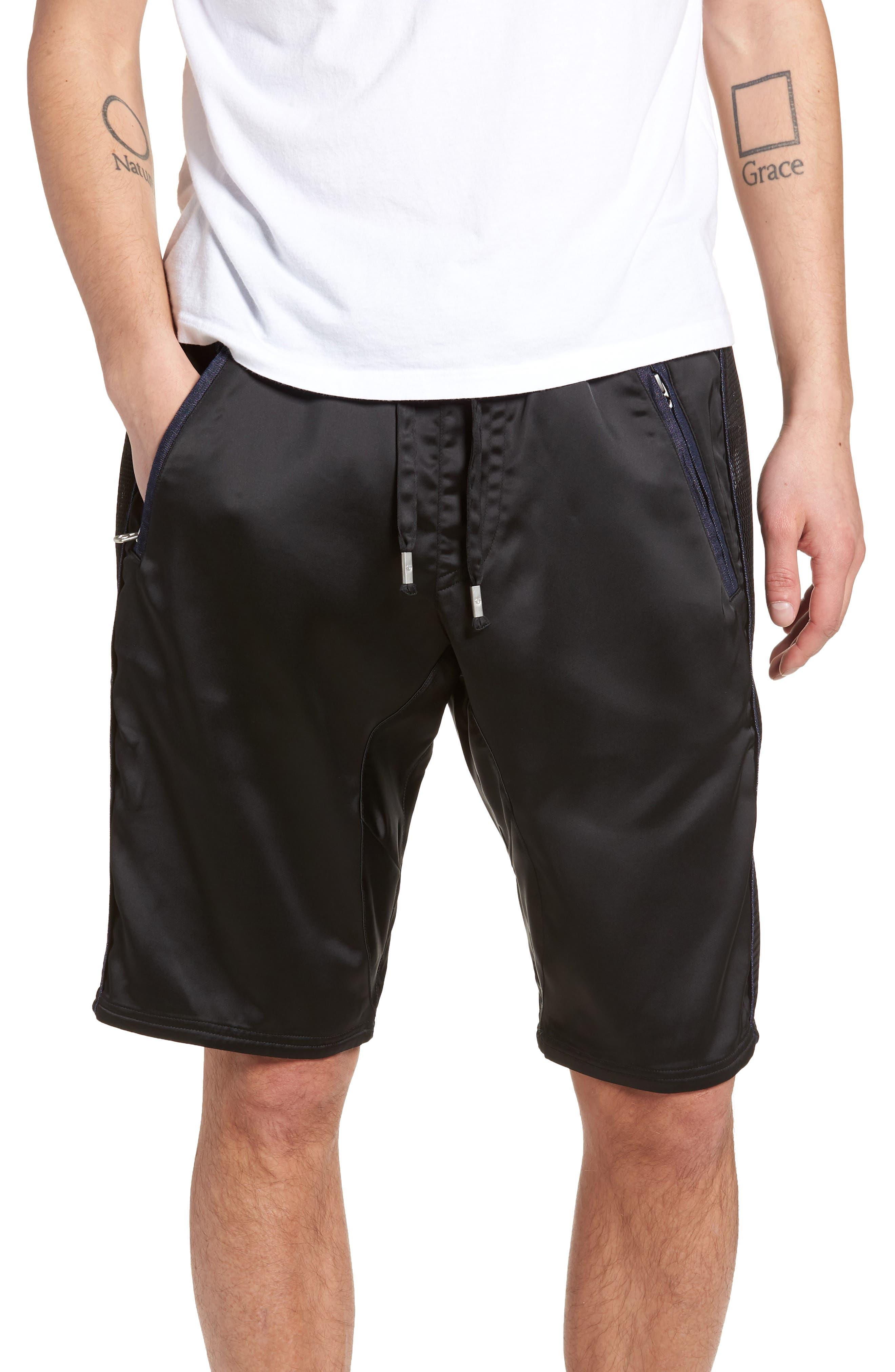 Satin Shorts,                             Main thumbnail 1, color,                             Black