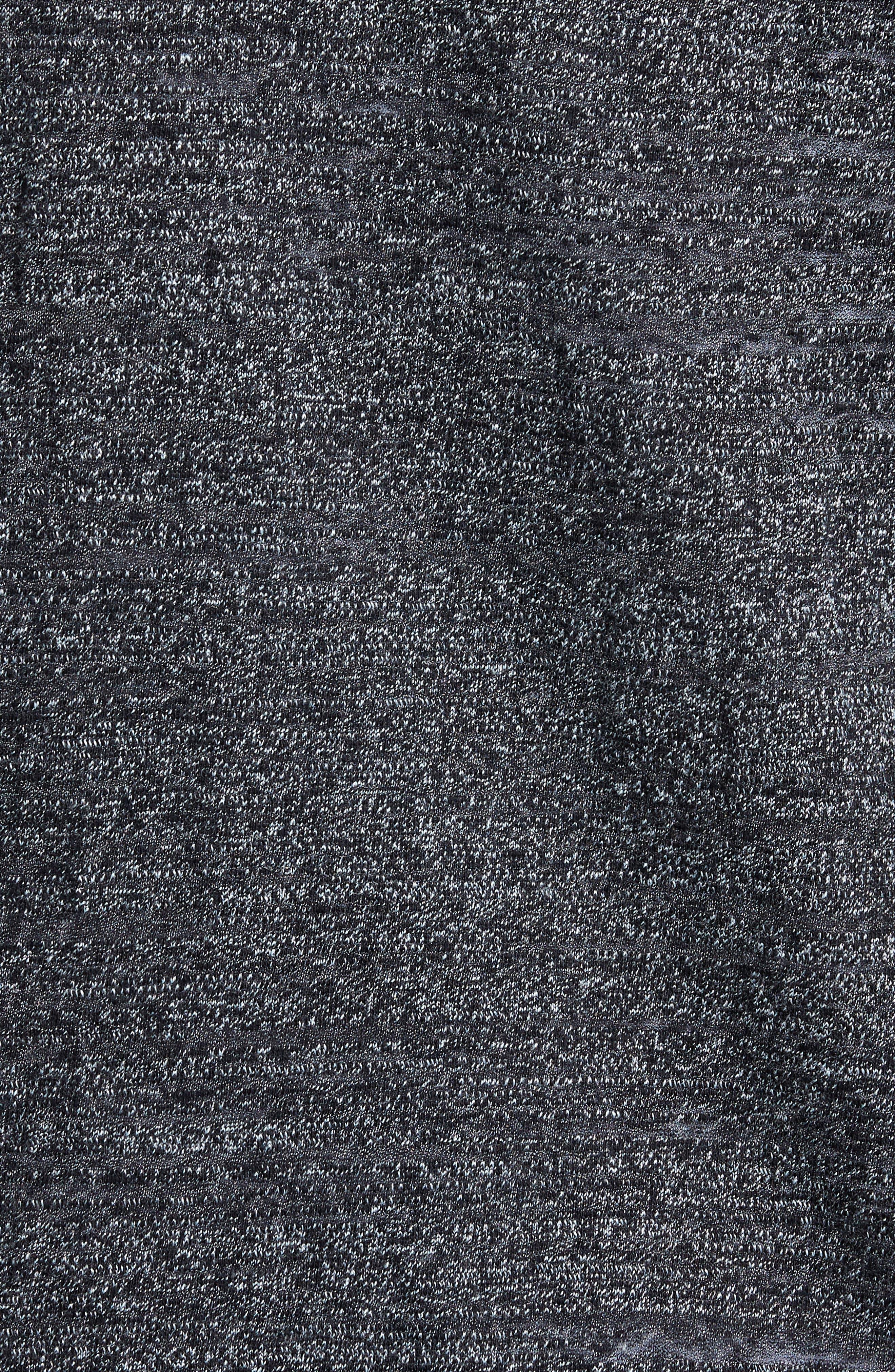 Textured Zip Fleece Sweatshirt,                             Alternate thumbnail 5, color,                             Black Melange