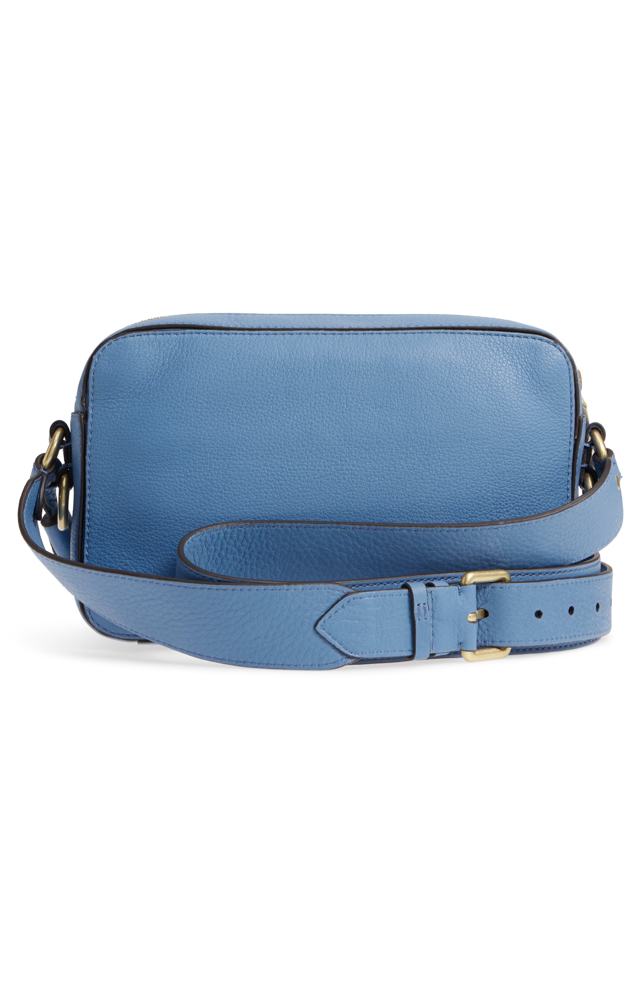 Cassidy RFID Pebbled Leather Camera Bag,                             Alternate thumbnail 5, color,                             Riverside