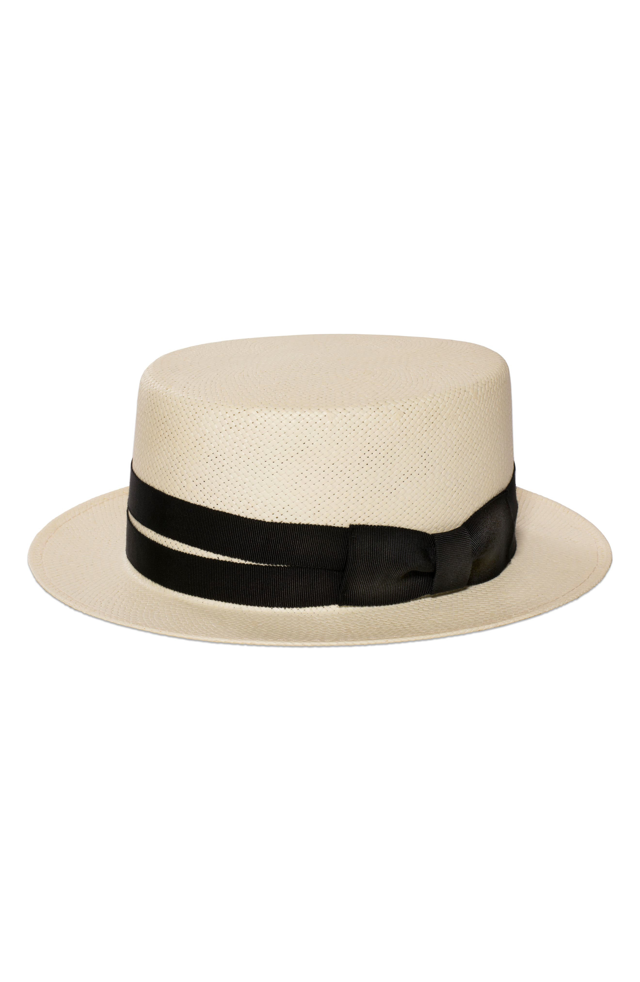 The Gemini Boater Hat,                             Main thumbnail 1, color,                             Ivory