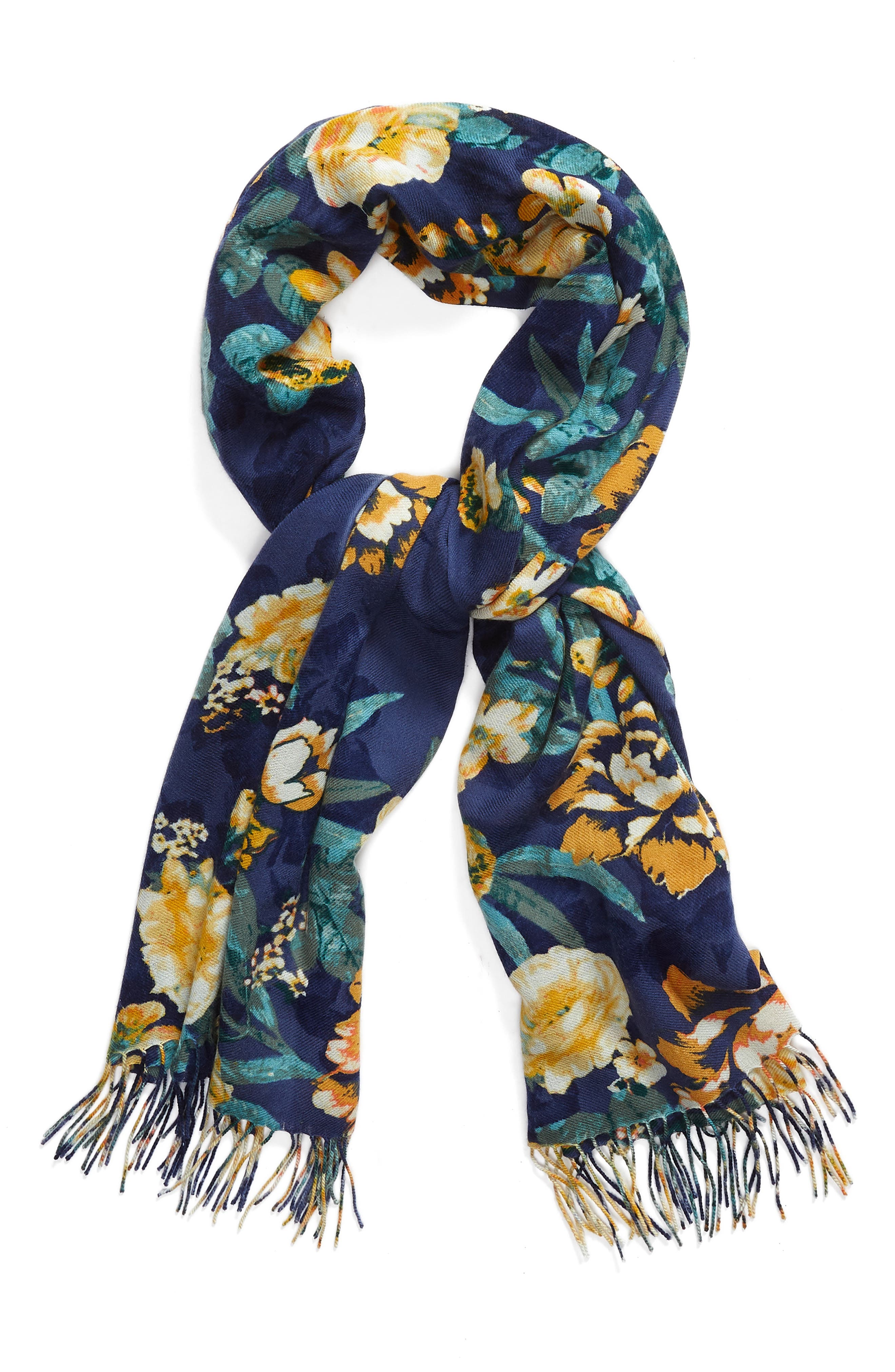 Tissue Print Wool & Cashmere Wrap Scarf,                             Alternate thumbnail 2, color,                             Navy Artful Blooms