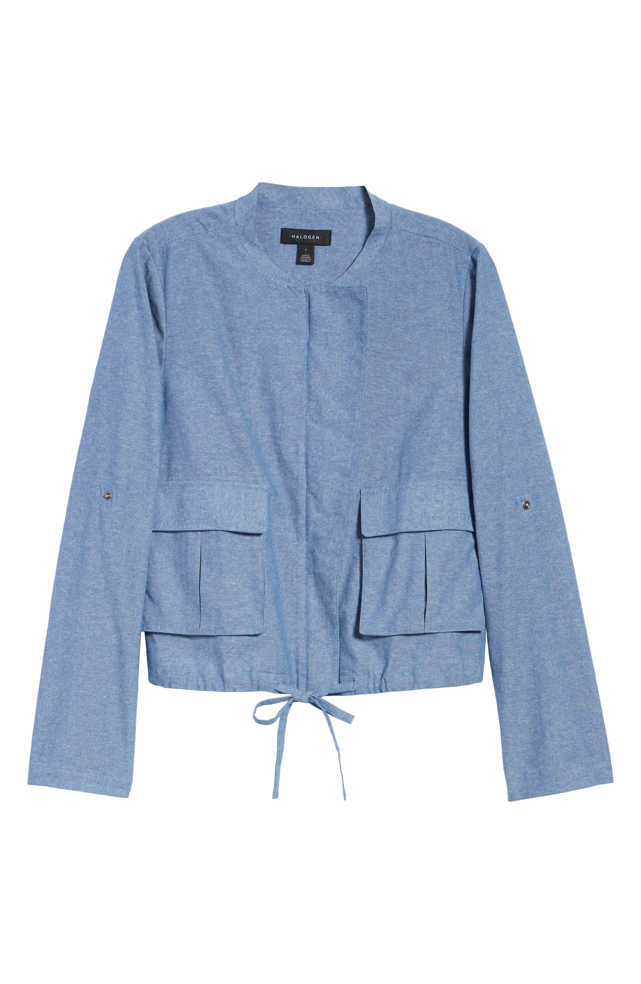 Linen Blend Chambray Tie Waist Jacket,                             Alternate thumbnail 7, color,                             Chambray