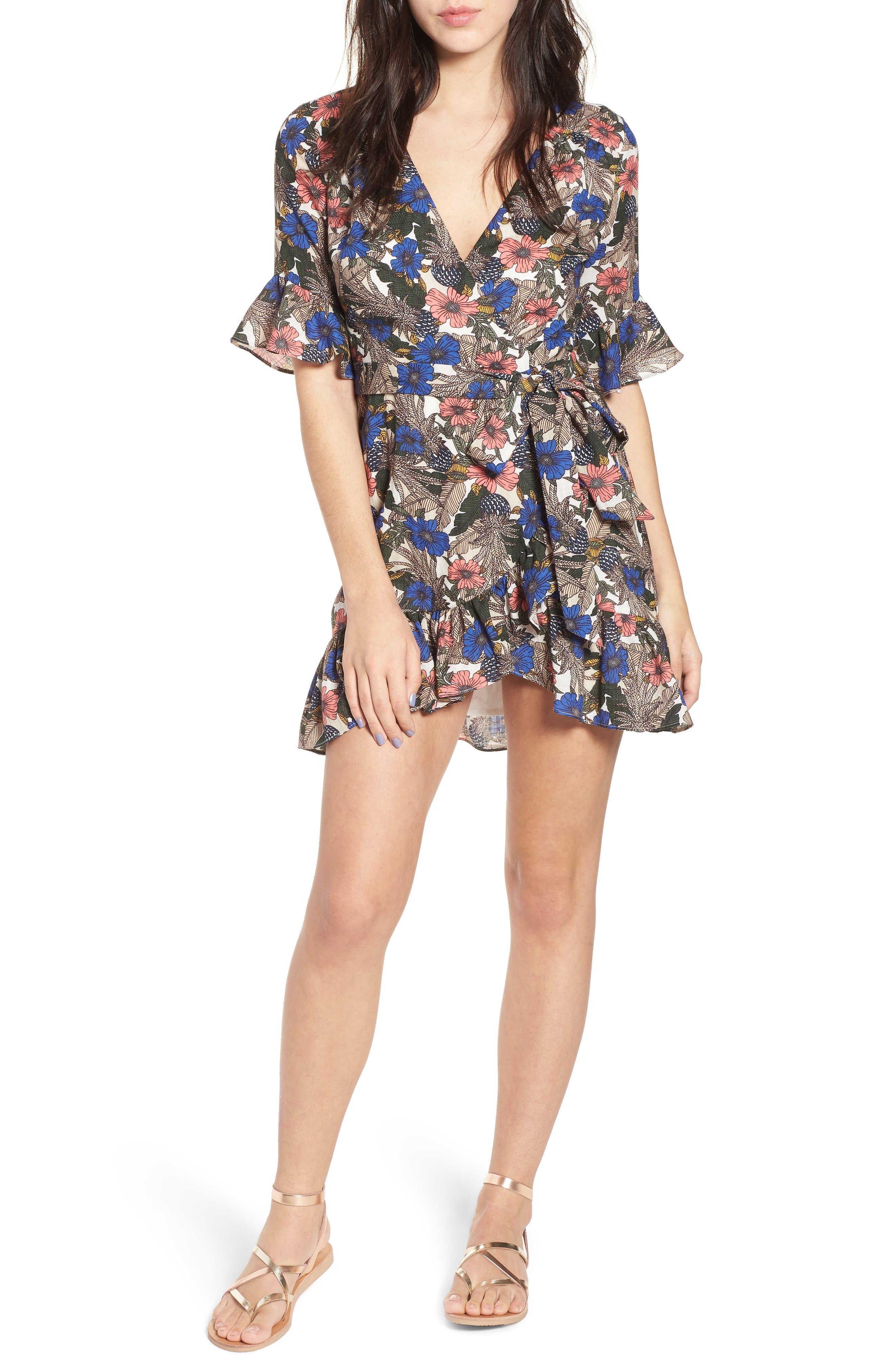 Siesta Wrap Minidress,                         Main,                         color, Blue Multi
