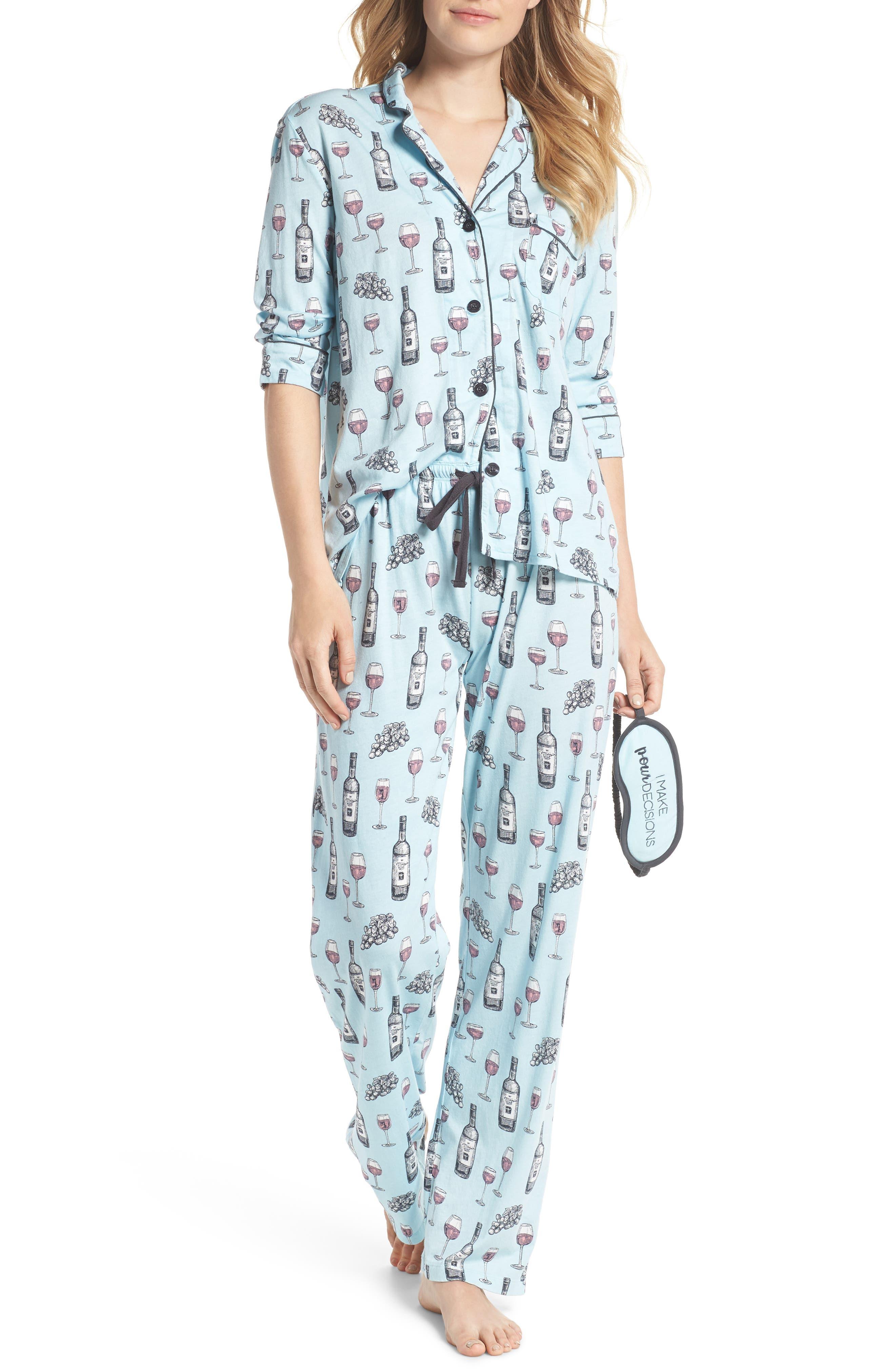 Main Image - PJ Salvage Print Pajamas & Eye Mask