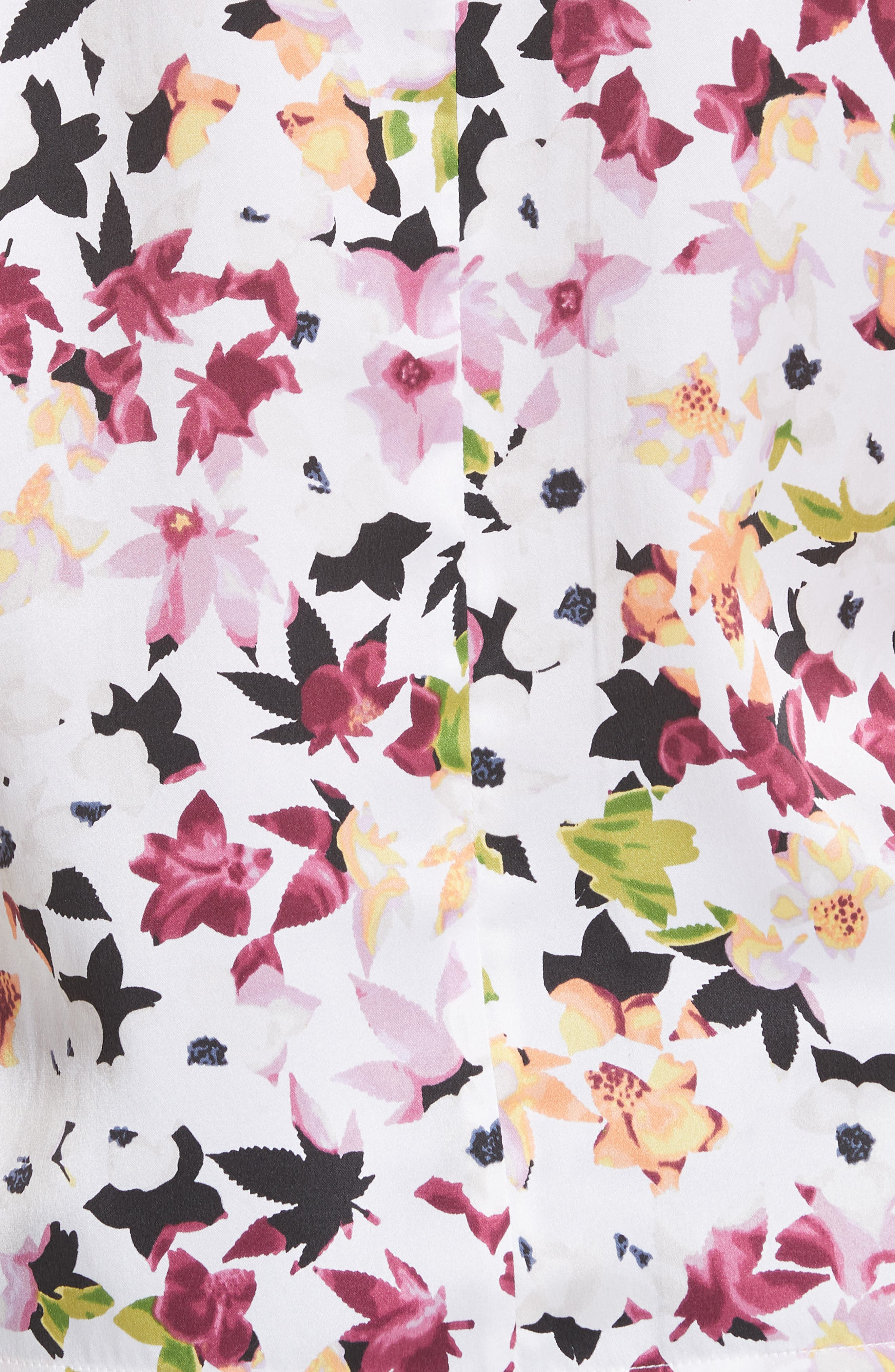 Layla Floral Silk Top,                             Alternate thumbnail 5, color,                             Bright White Multi