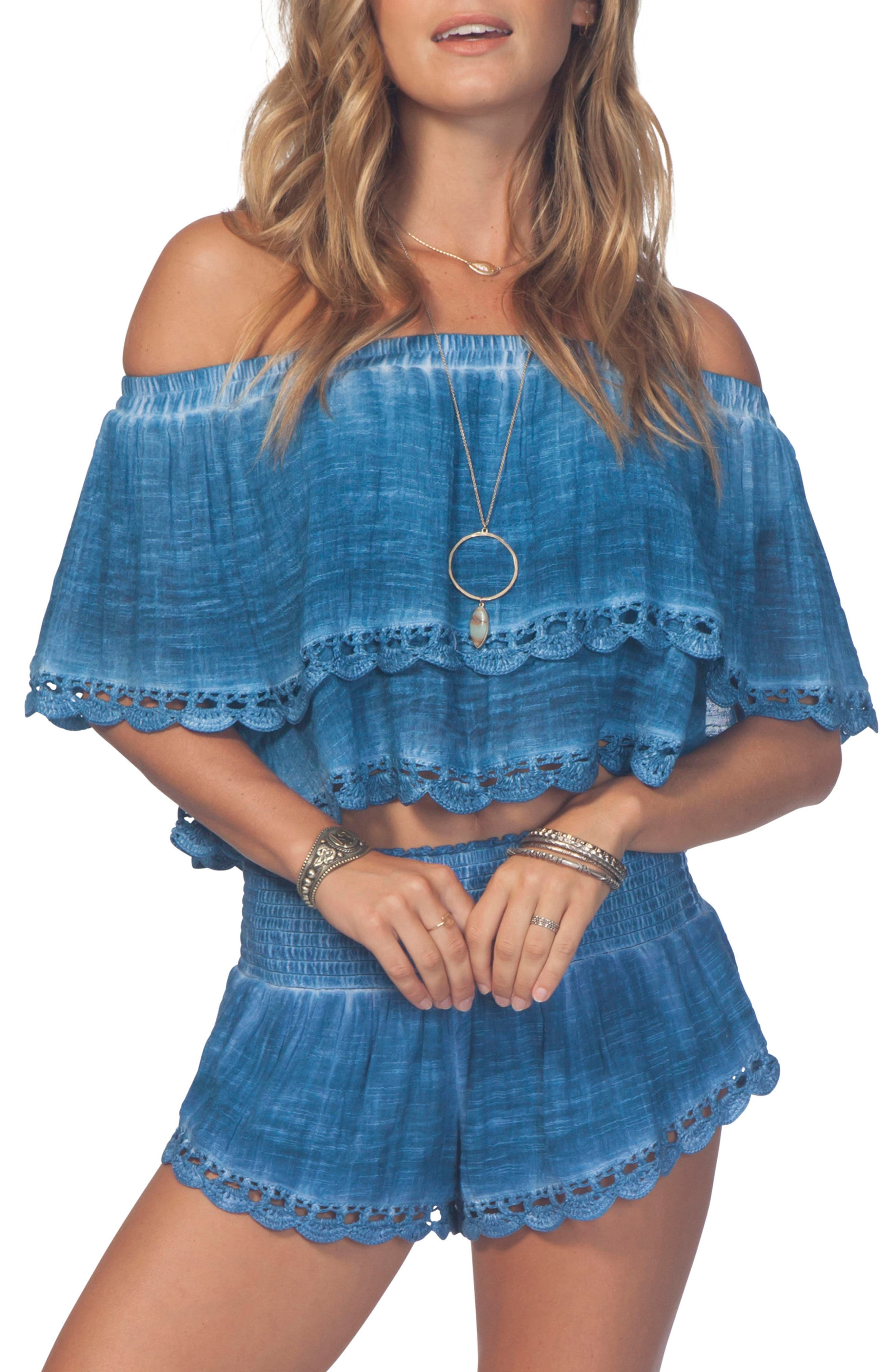 Dream Beam Off-the-Shoulder Crop Top,                         Main,                         color, Mid Blue