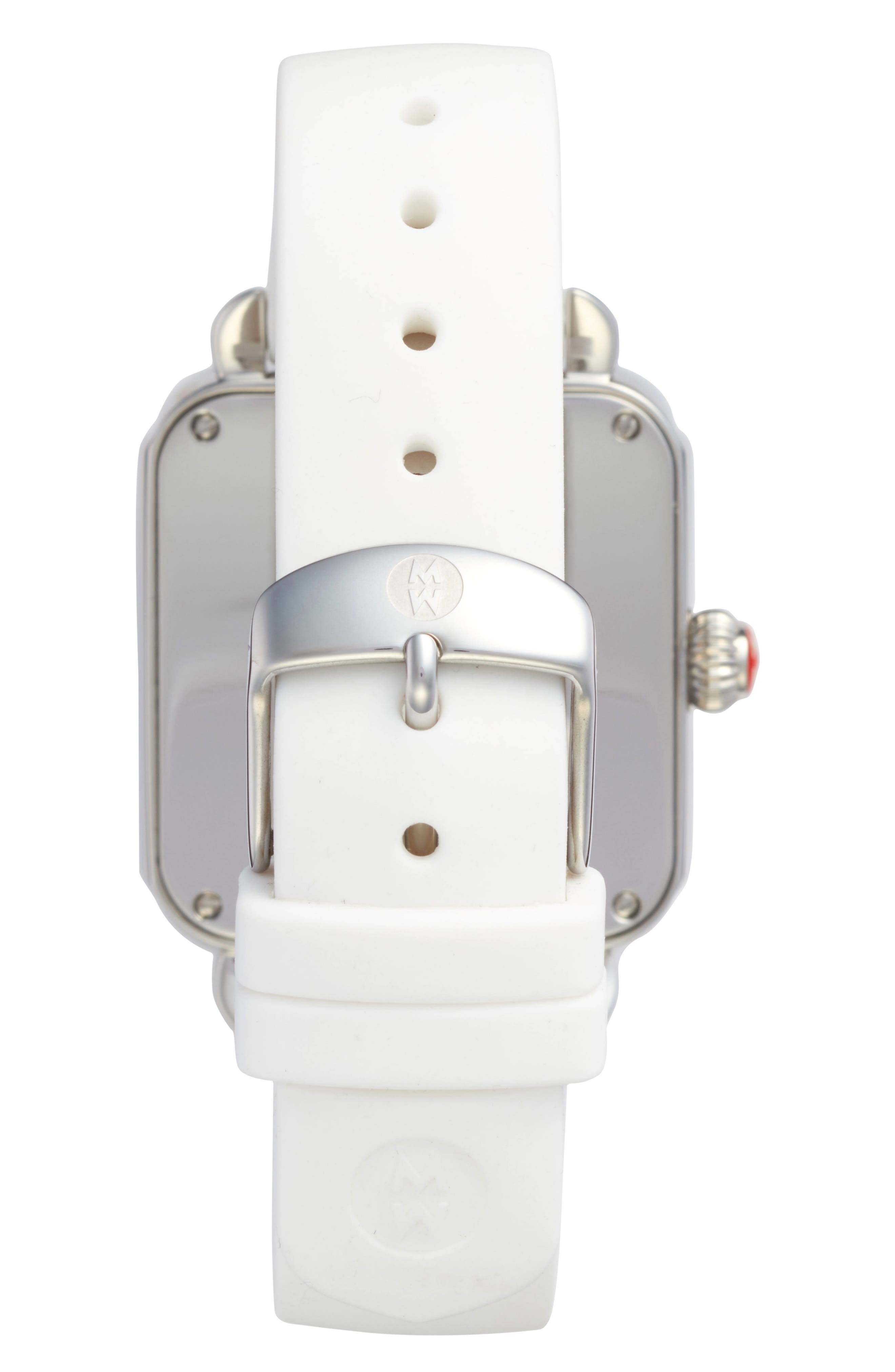 Deco Sport Watch Head & Silicone Strap Watch, 34mm x 36mm,                             Alternate thumbnail 3, color,                             White/ Silver