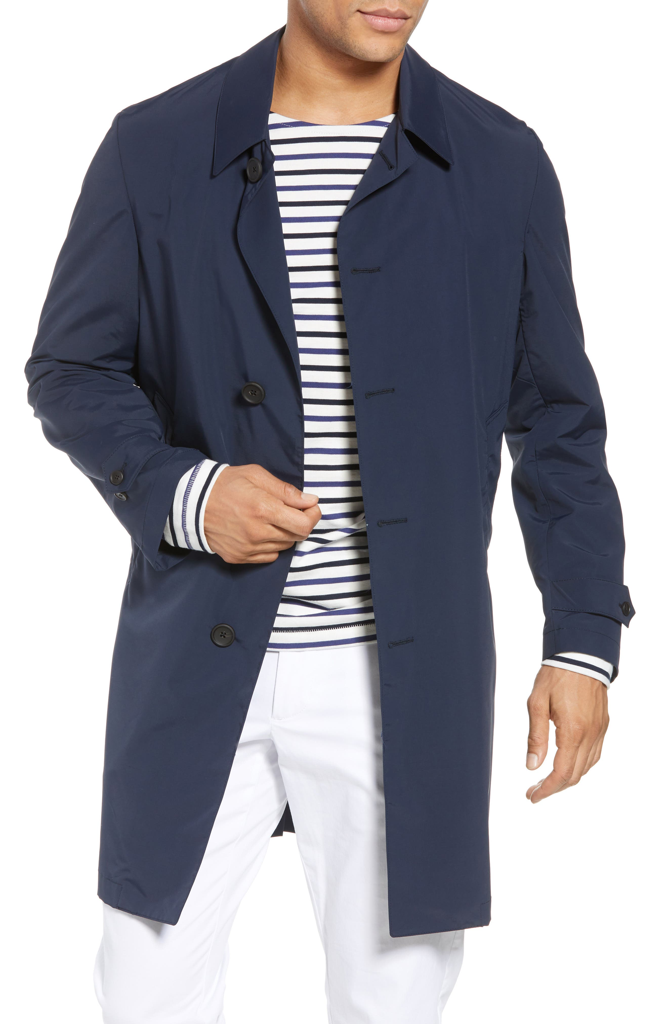 Shell Wool Blend Rain Coat,                             Main thumbnail 1, color,                             Navy
