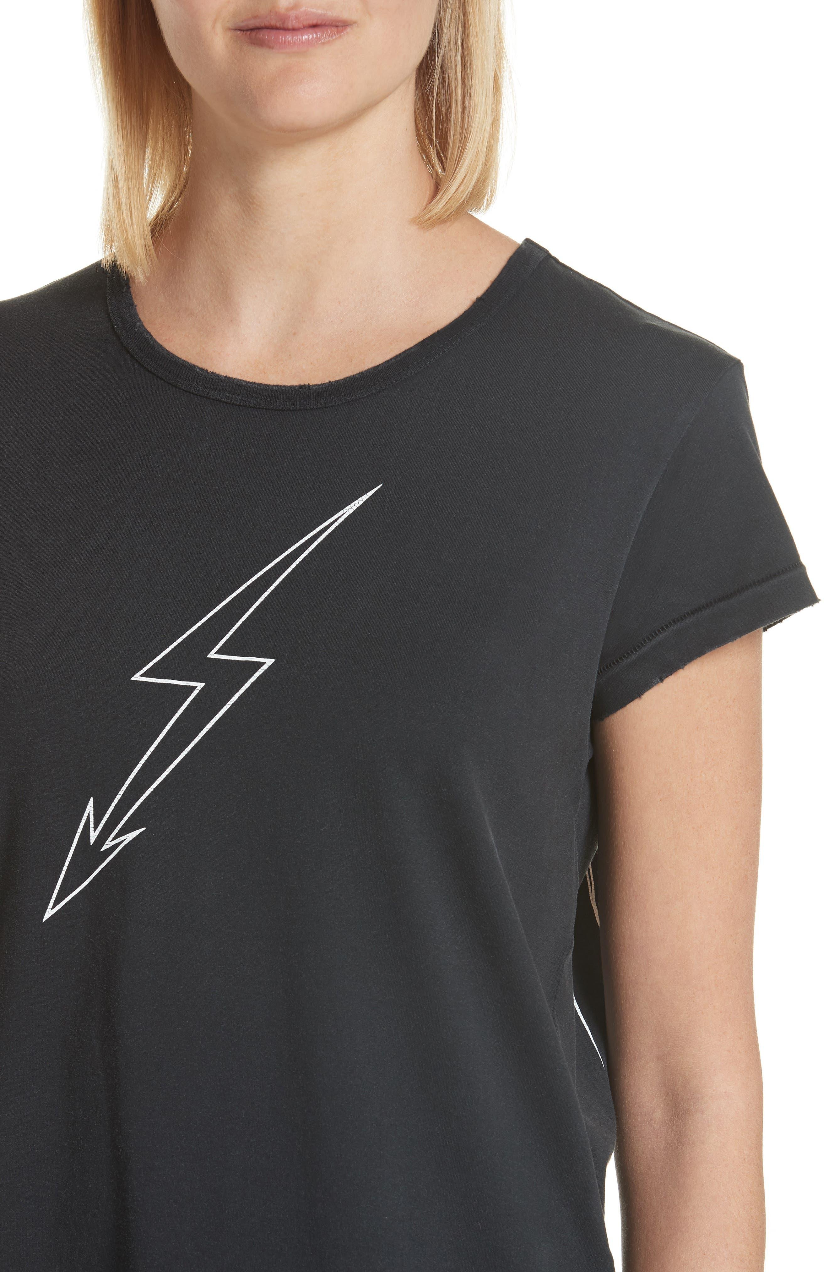 Lightning Bolt Graphic Tee,                             Alternate thumbnail 4, color,                             Black
