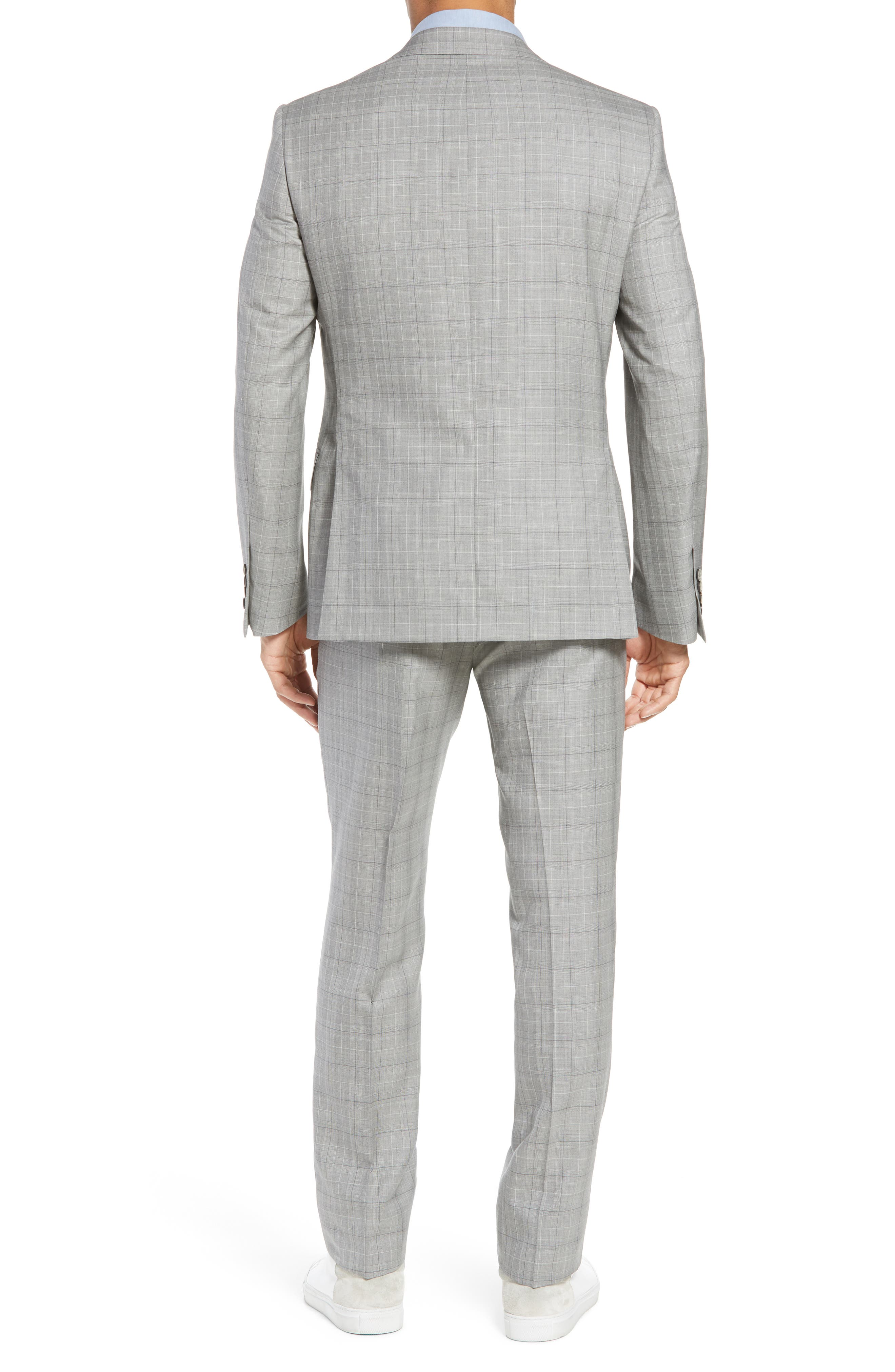 Classic Fit Plaid Wool & Silk Suit,                             Alternate thumbnail 2, color,                             Grey