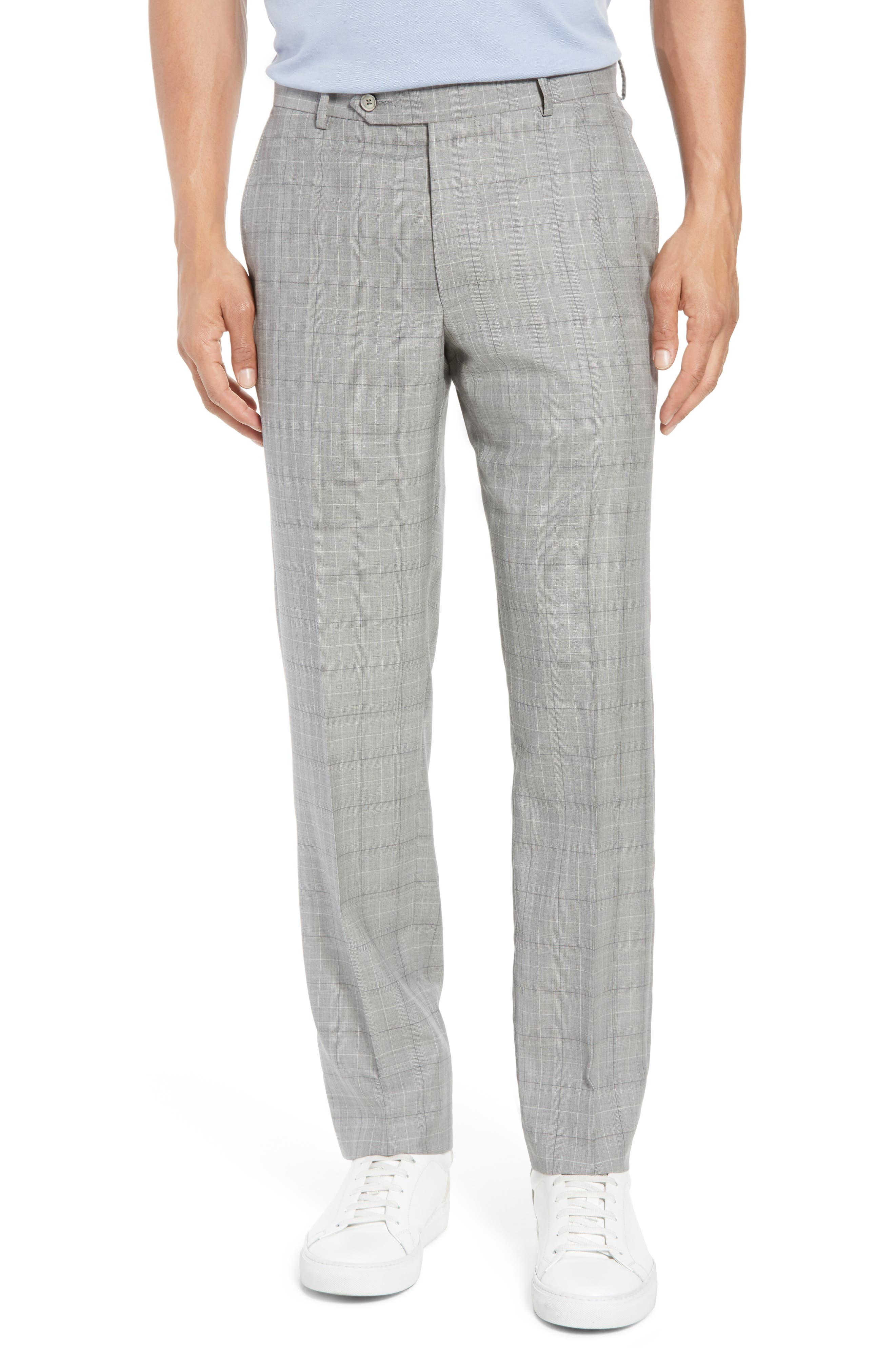 Classic Fit Plaid Wool & Silk Suit,                             Alternate thumbnail 6, color,                             Grey