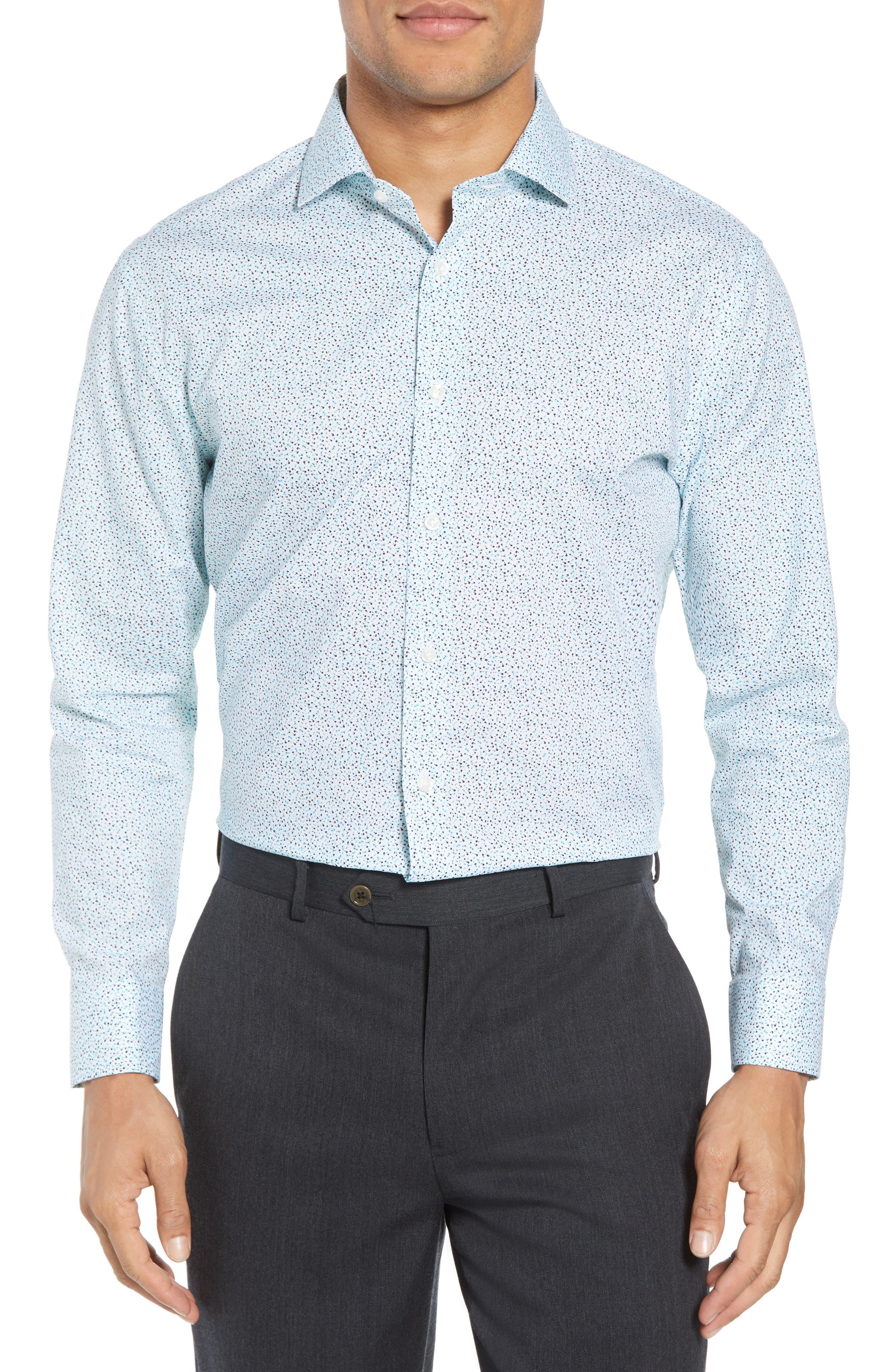 Trim Fit Floral Dress Shirt,                         Main,                         color, Teal Bermuda
