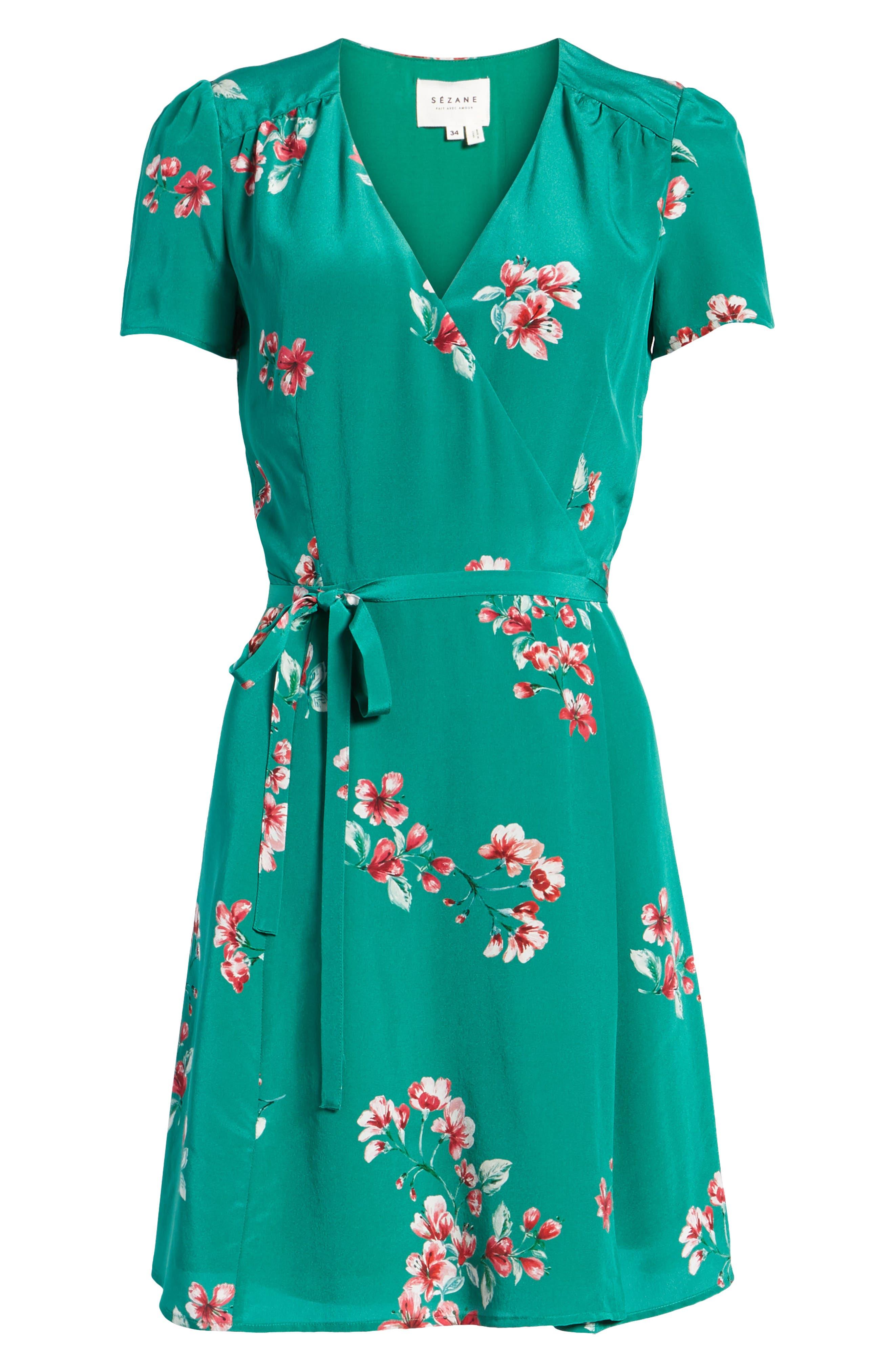 Anastasia Silk Wrap Dress,                             Alternate thumbnail 7, color,                             Bouquet Print On Green