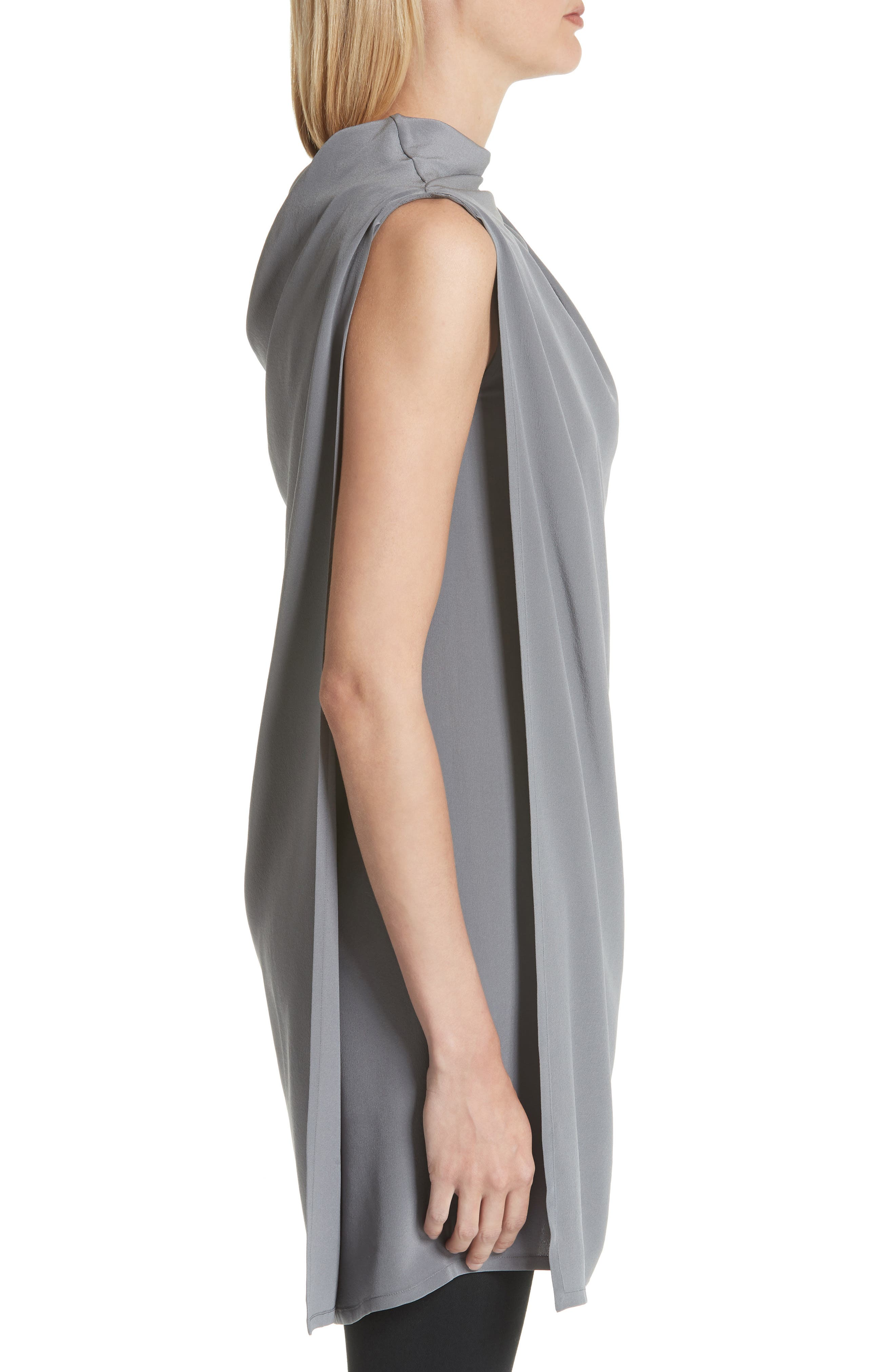 Draped Silk Tank Top,                             Alternate thumbnail 3, color,                             Grey