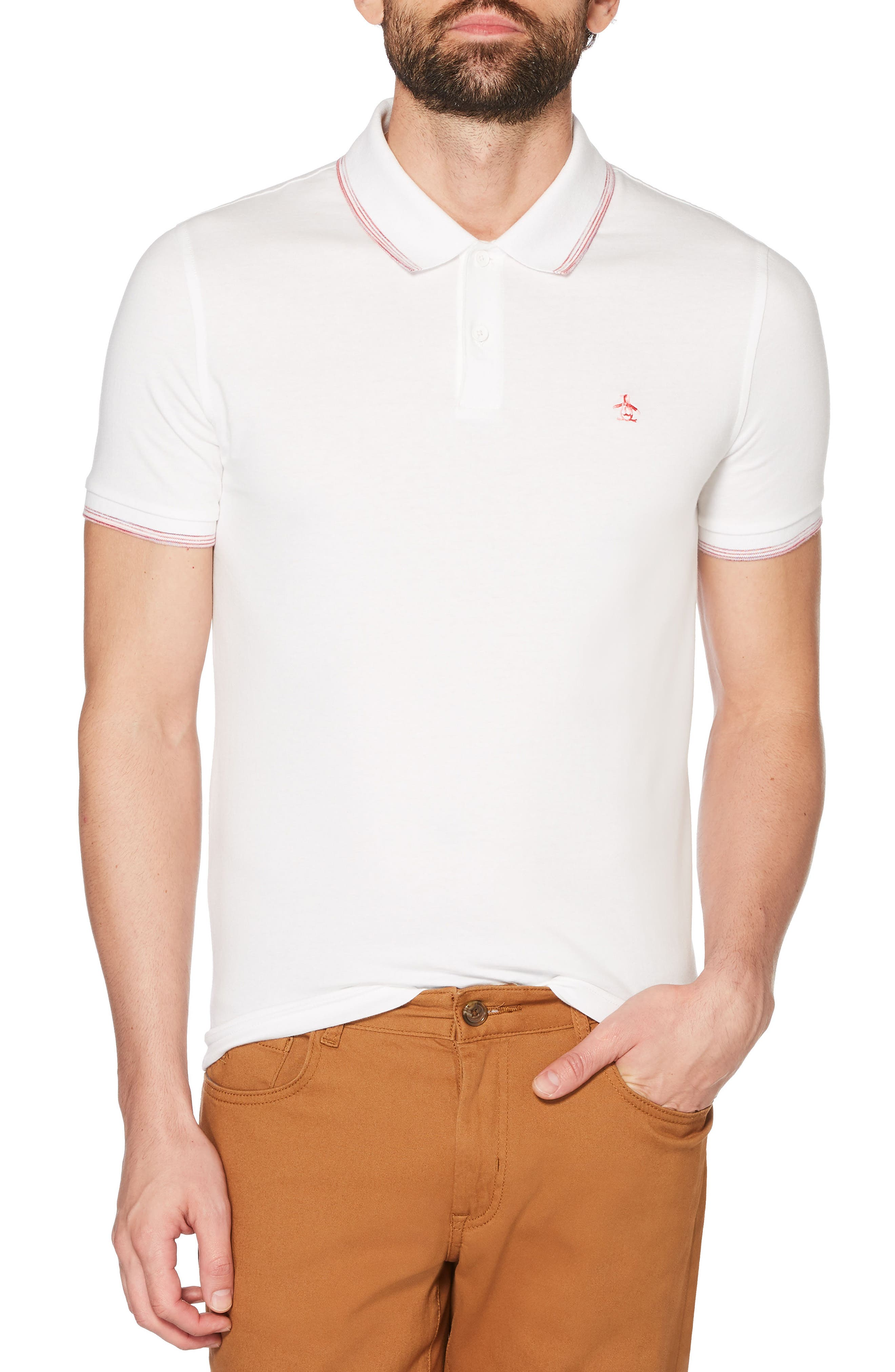 Space Dye Tipped Polo,                             Main thumbnail 1, color,                             Bright White