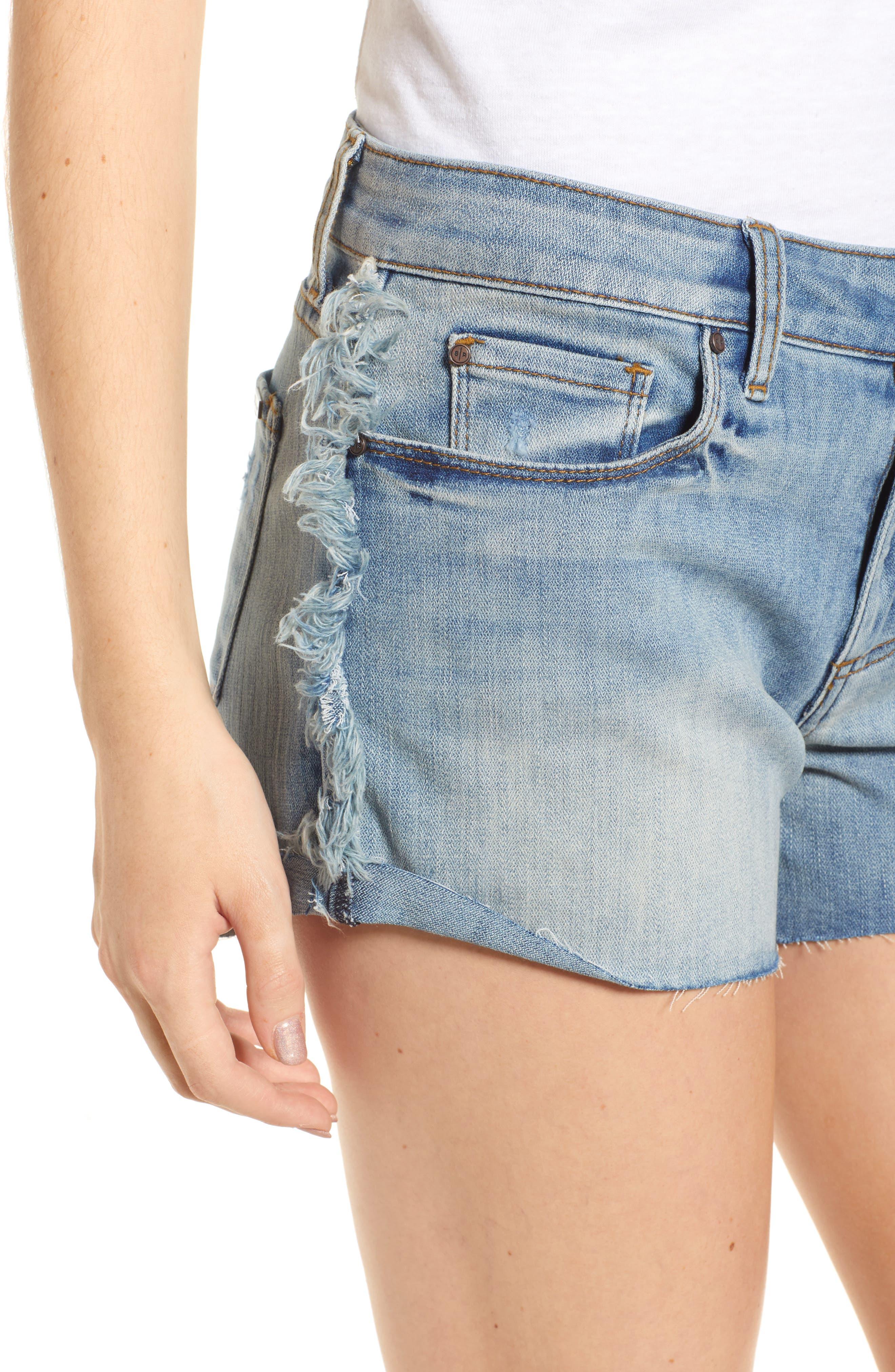 Fray Outseam Denim Shorts,                             Alternate thumbnail 4, color,                             Medium Wash
