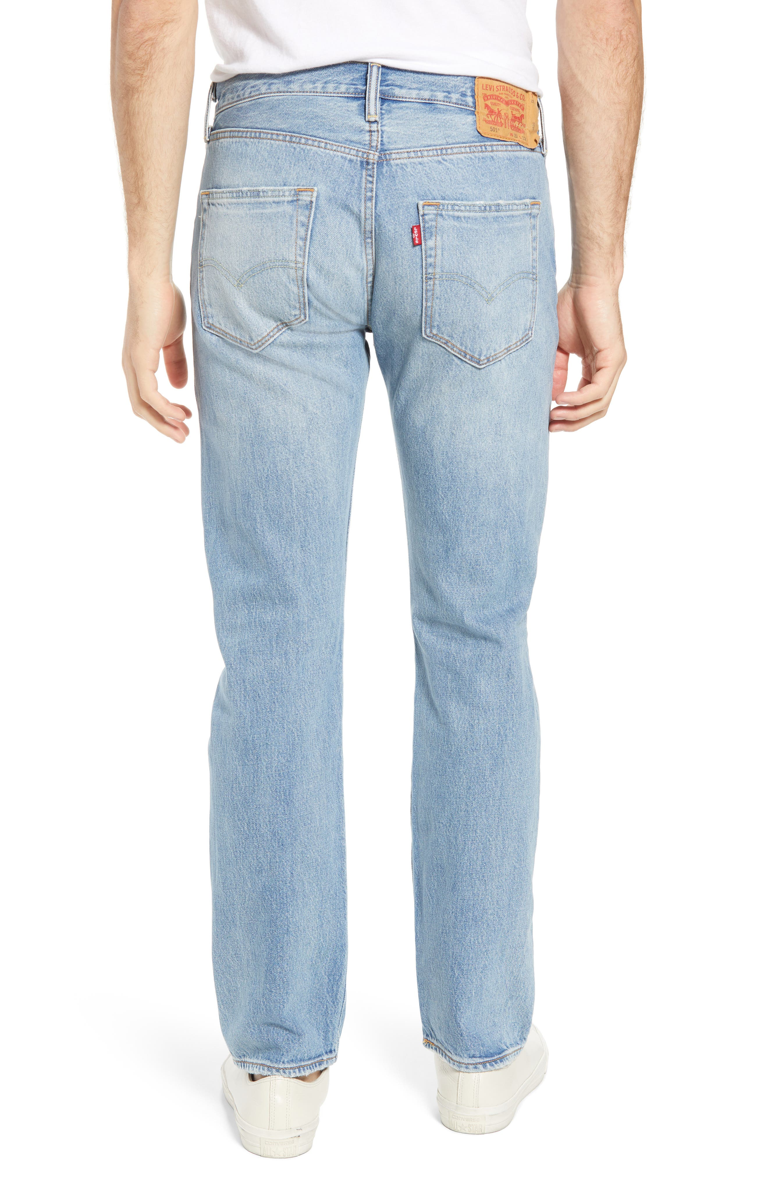 501<sup>®</sup> Original Straight Leg Jeans,                             Alternate thumbnail 2, color,                             Pieced Hawaiian Indigo