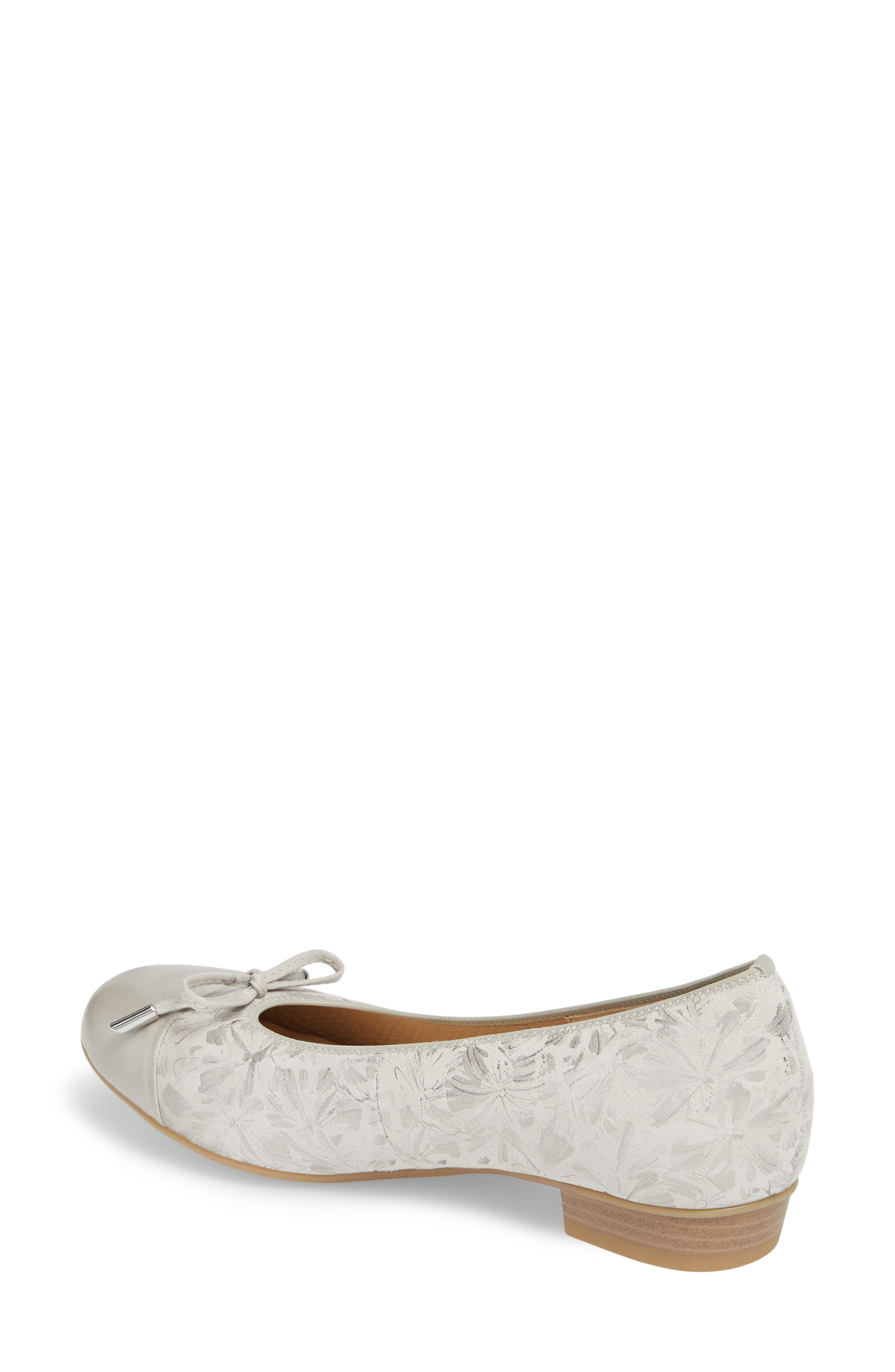 'Betty' Cap Toe Flat,                             Alternate thumbnail 2, color,                             Silver Leather