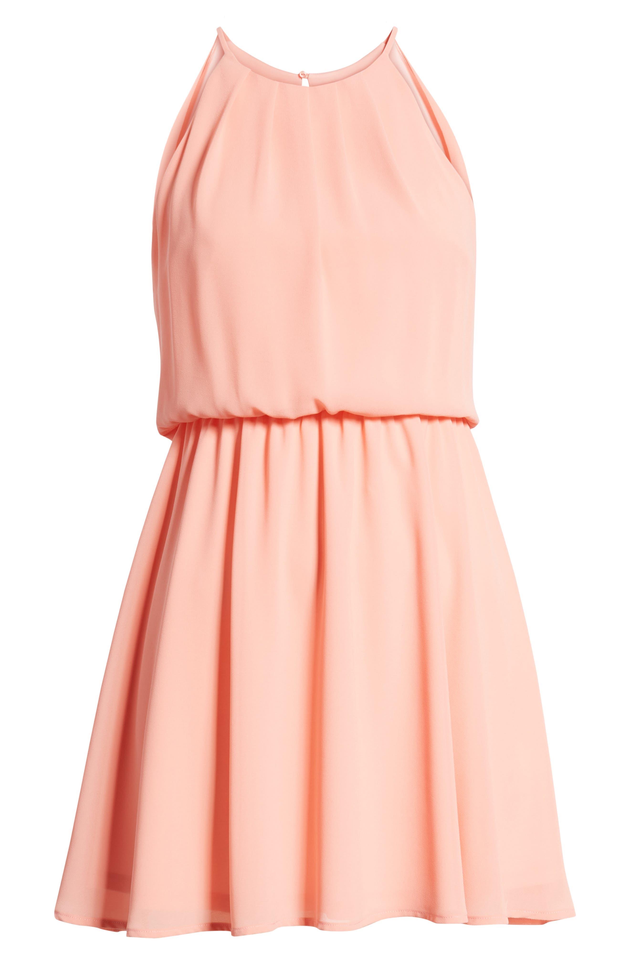 Blouson Chiffon Skater Dress,                             Alternate thumbnail 3, color,                             Peach