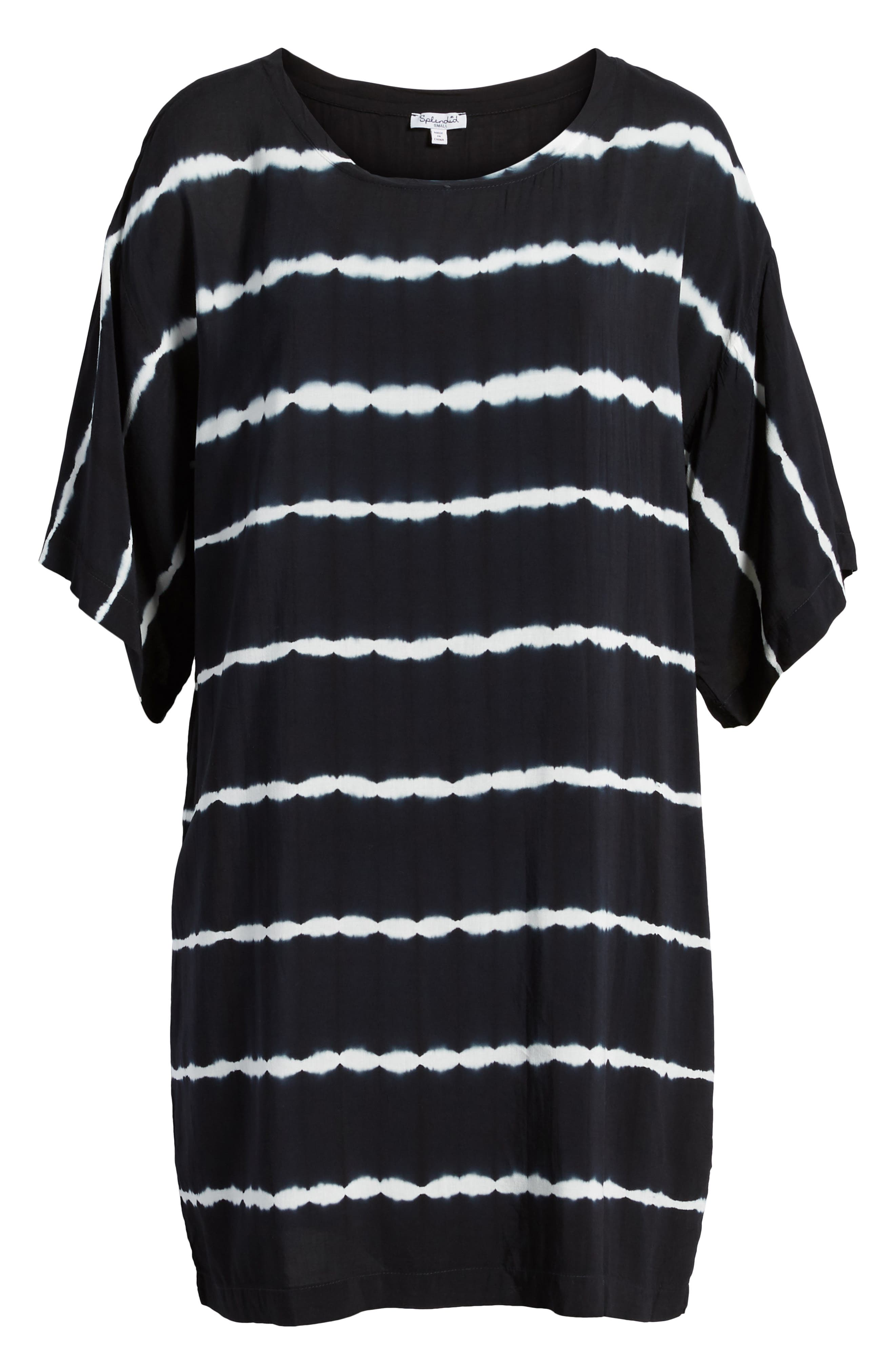 Tie Dye Stripe T-Shirt Dress,                             Alternate thumbnail 6, color,                             Navy/ White