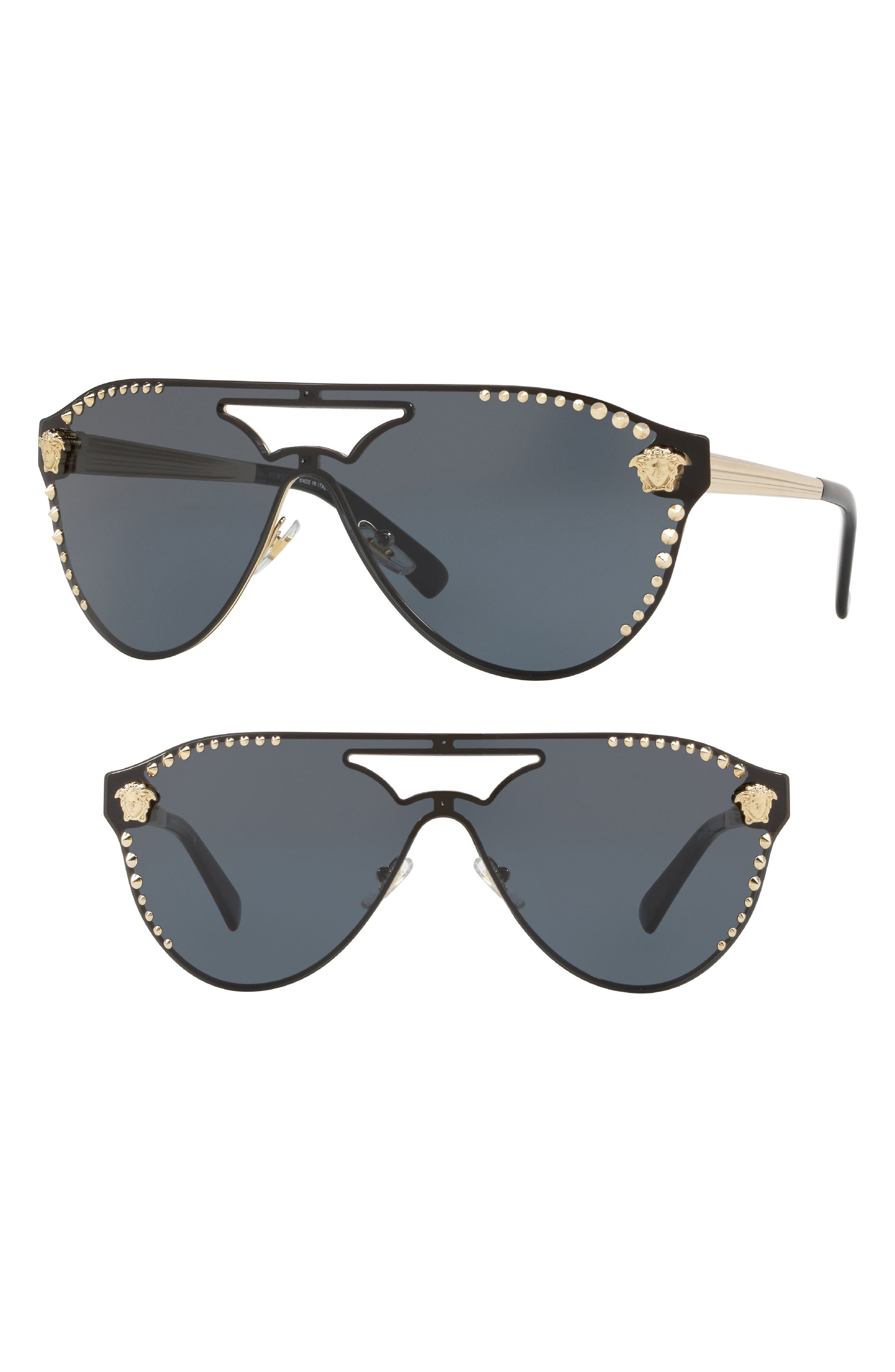 Versace 42mm Shield Mirrored Sunglasses