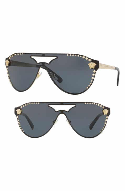 84ab7fb0e8 Versace 60mm Shield Mirrored Sunglasses