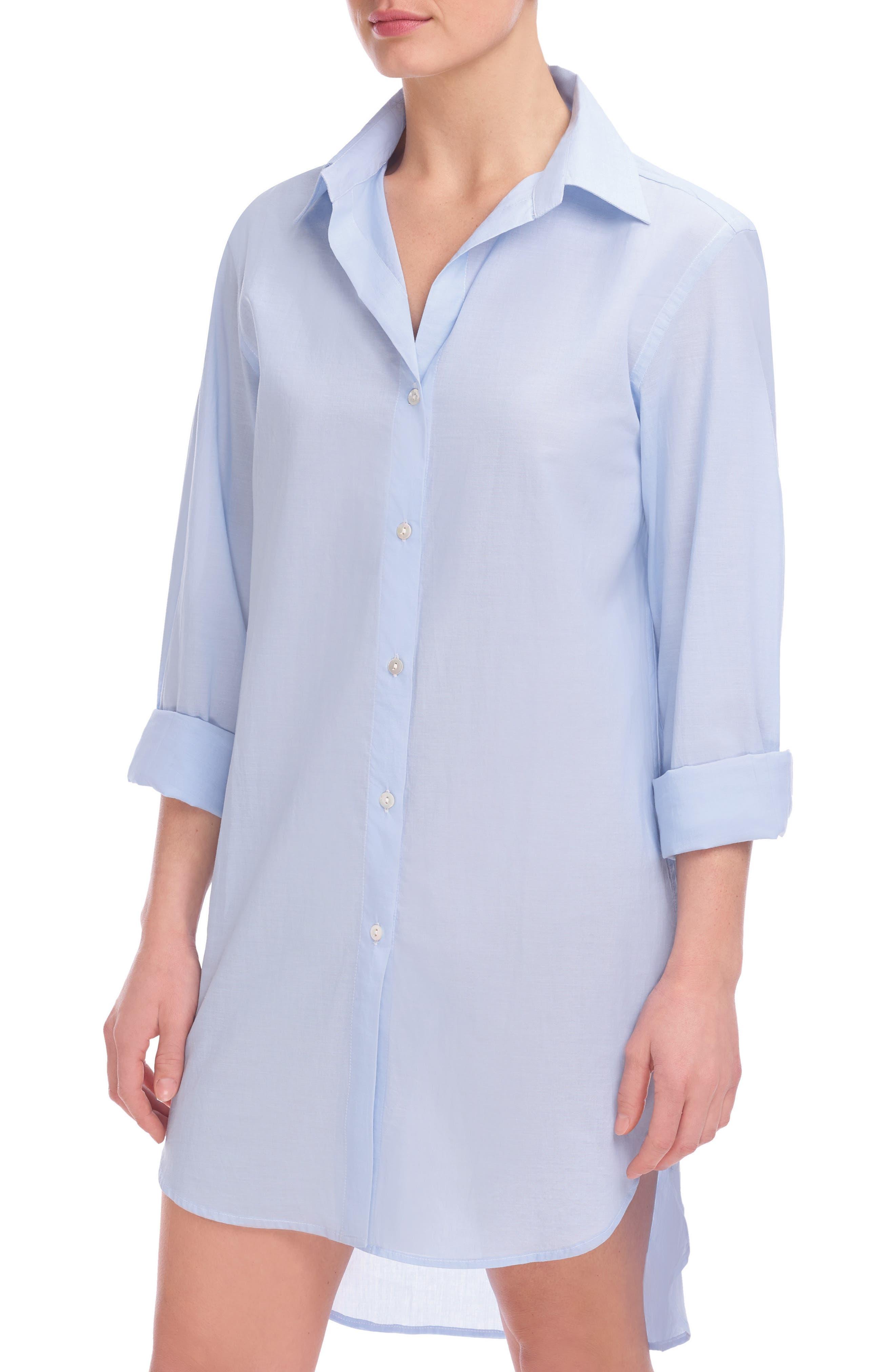 Stripe Oversize Cotton Voile Sleep Shirt,                             Main thumbnail 1, color,                             Soft Blue