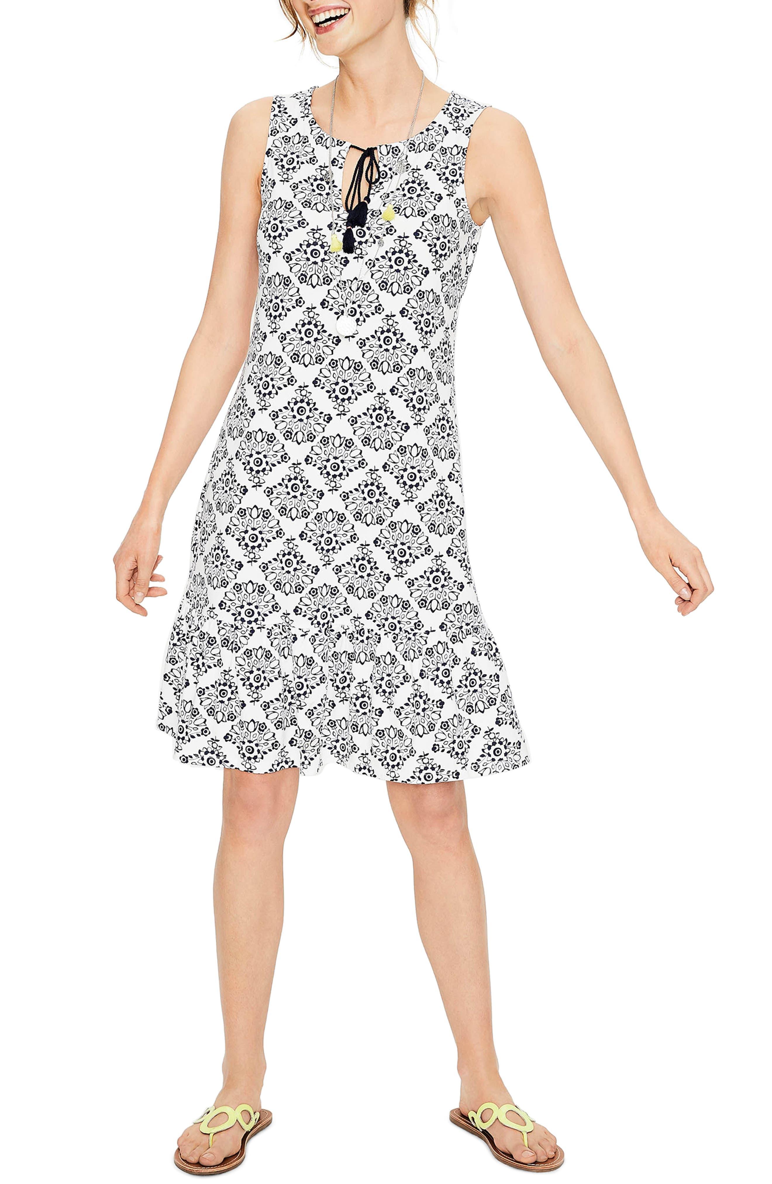 Tassel Tie Print Tank Dress,                             Main thumbnail 1, color,                             Ivory/Navy Floral Bo