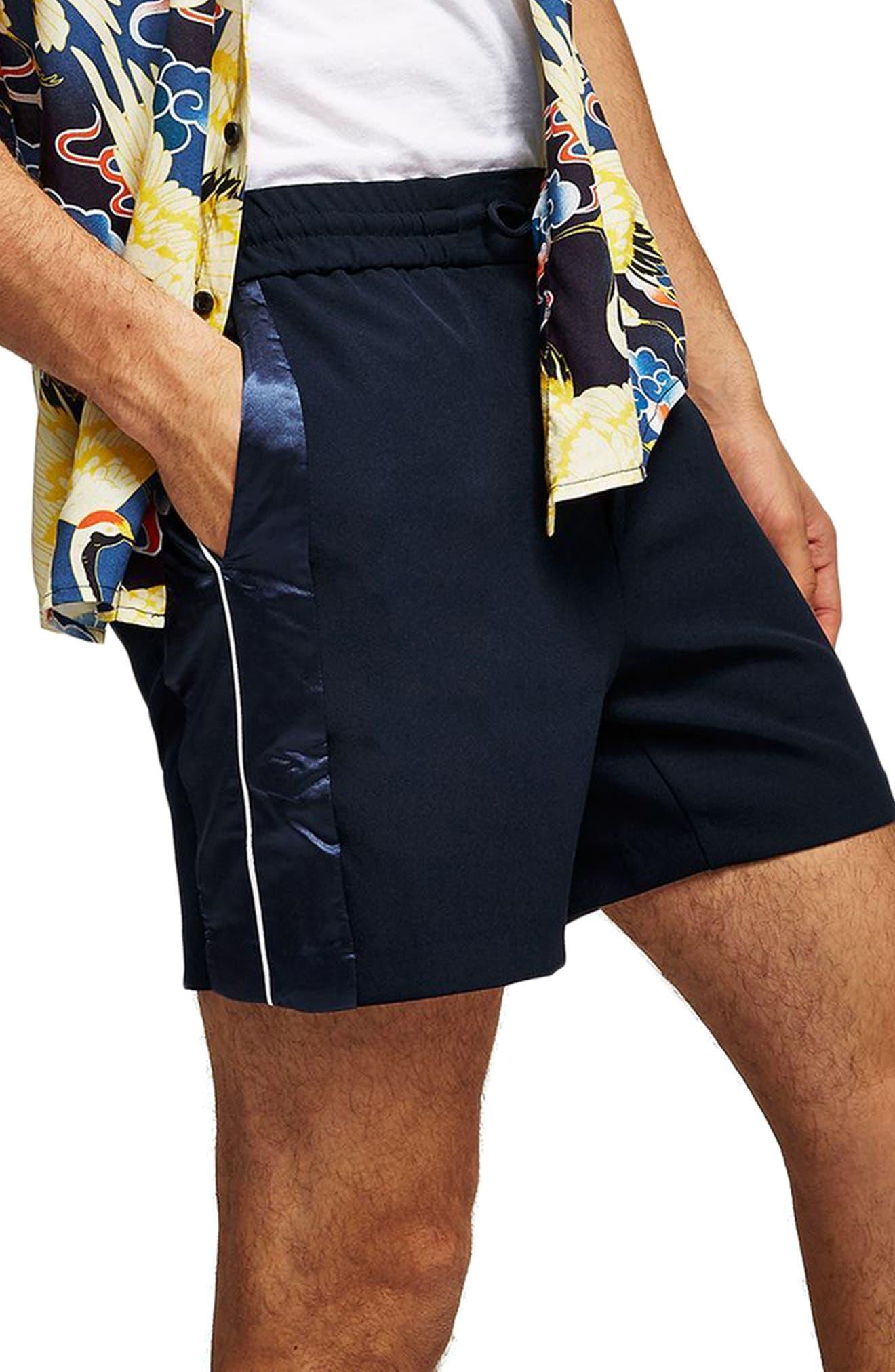 Satin Trim Shorts,                             Main thumbnail 1, color,                             Navy Blue